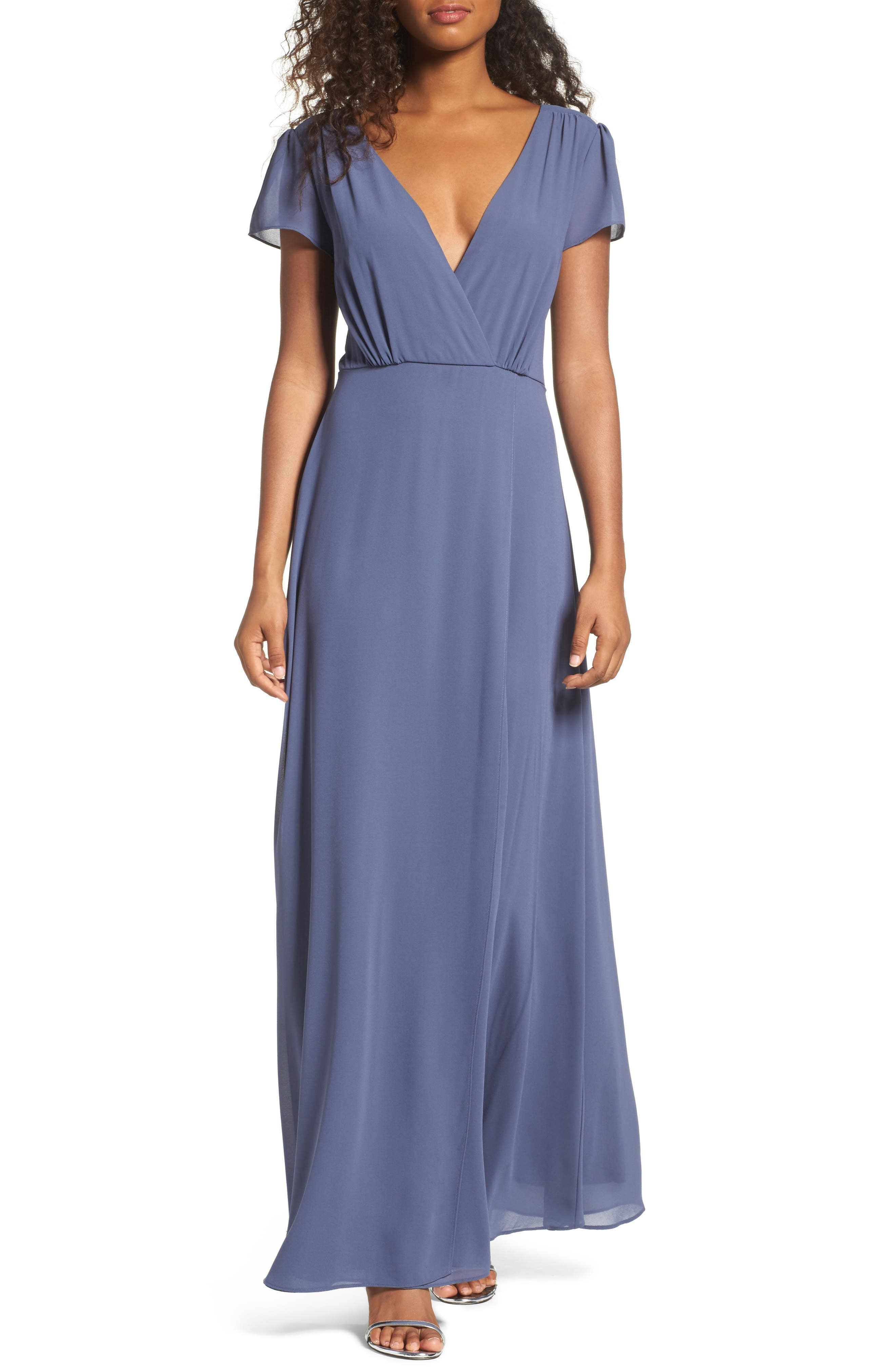 Lace-Up Back Chiffon Gown,                             Main thumbnail 1, color,