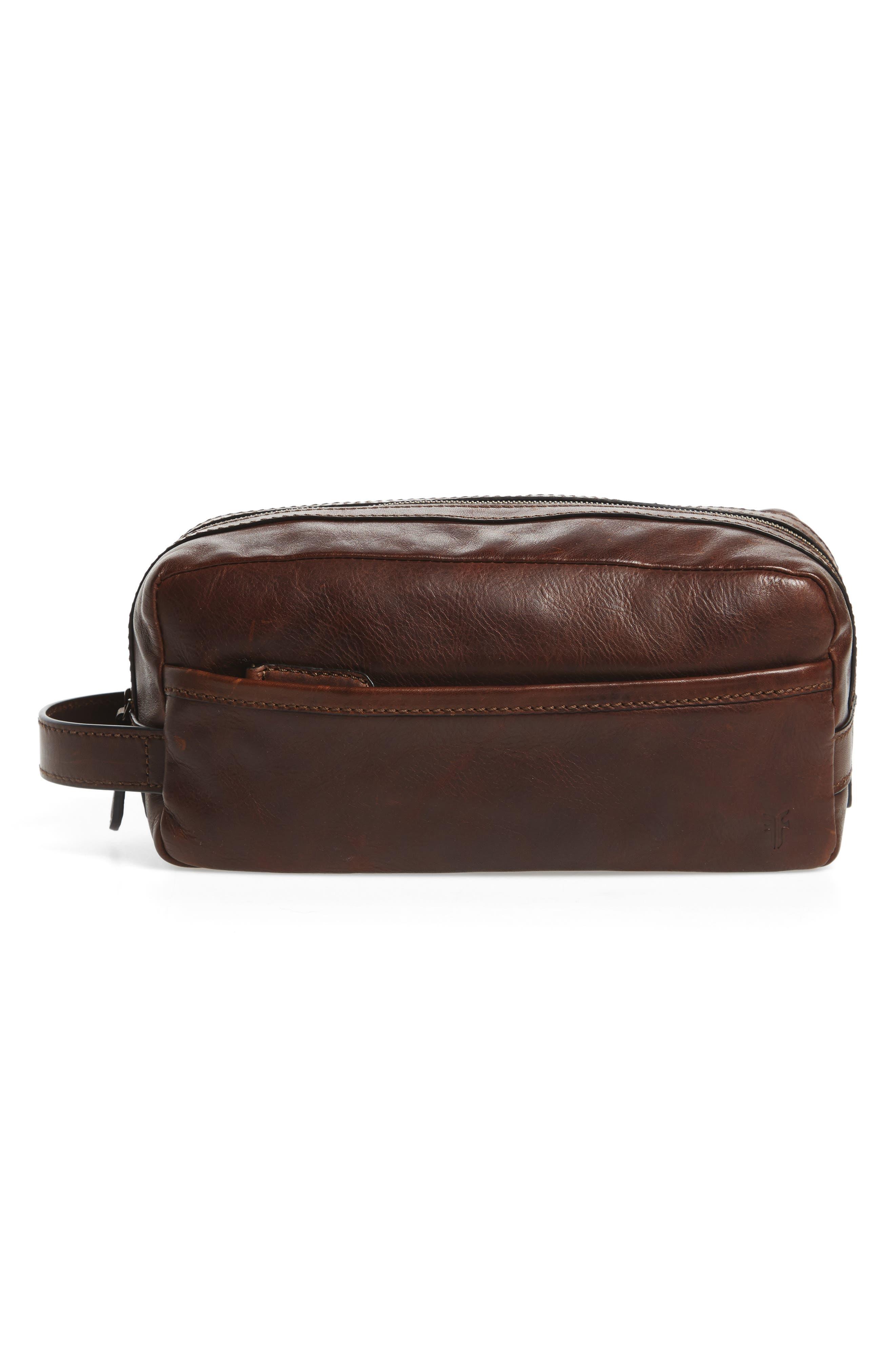'Logan' Leather Travel Kit,                         Main,                         color, DARK BROWN