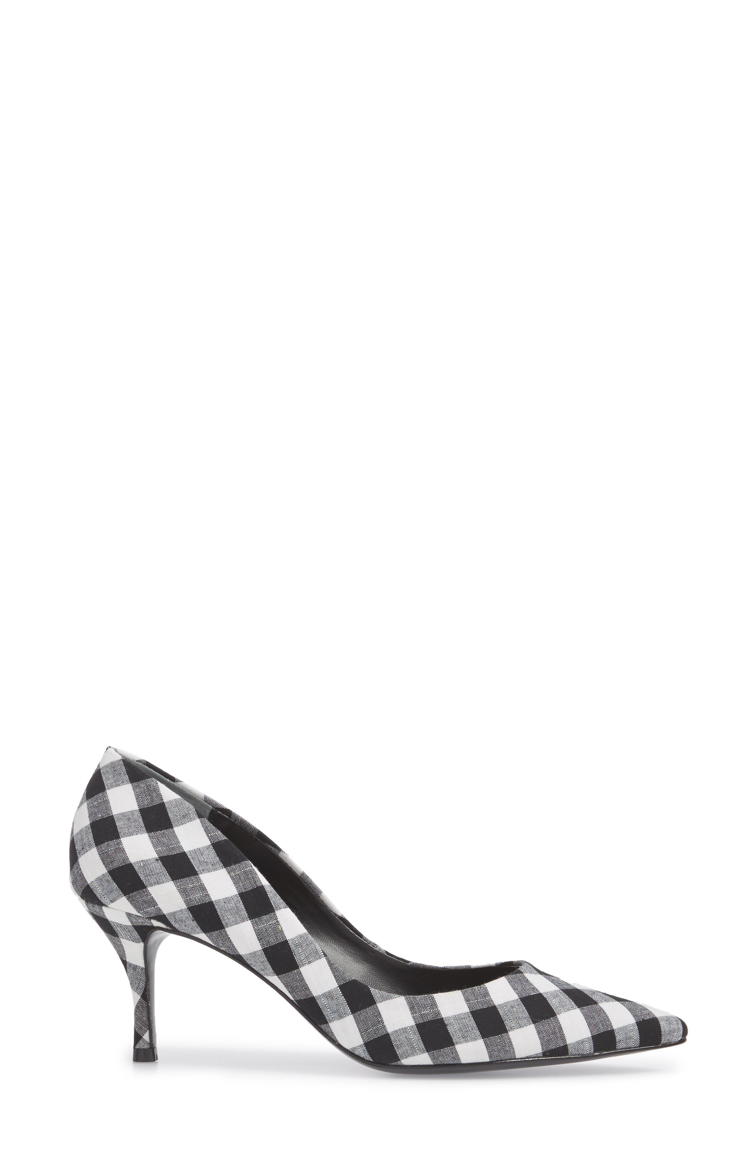 Addie Pump,                             Alternate thumbnail 3, color,                             BLACK/ WHITE GINGHAM FABRIC