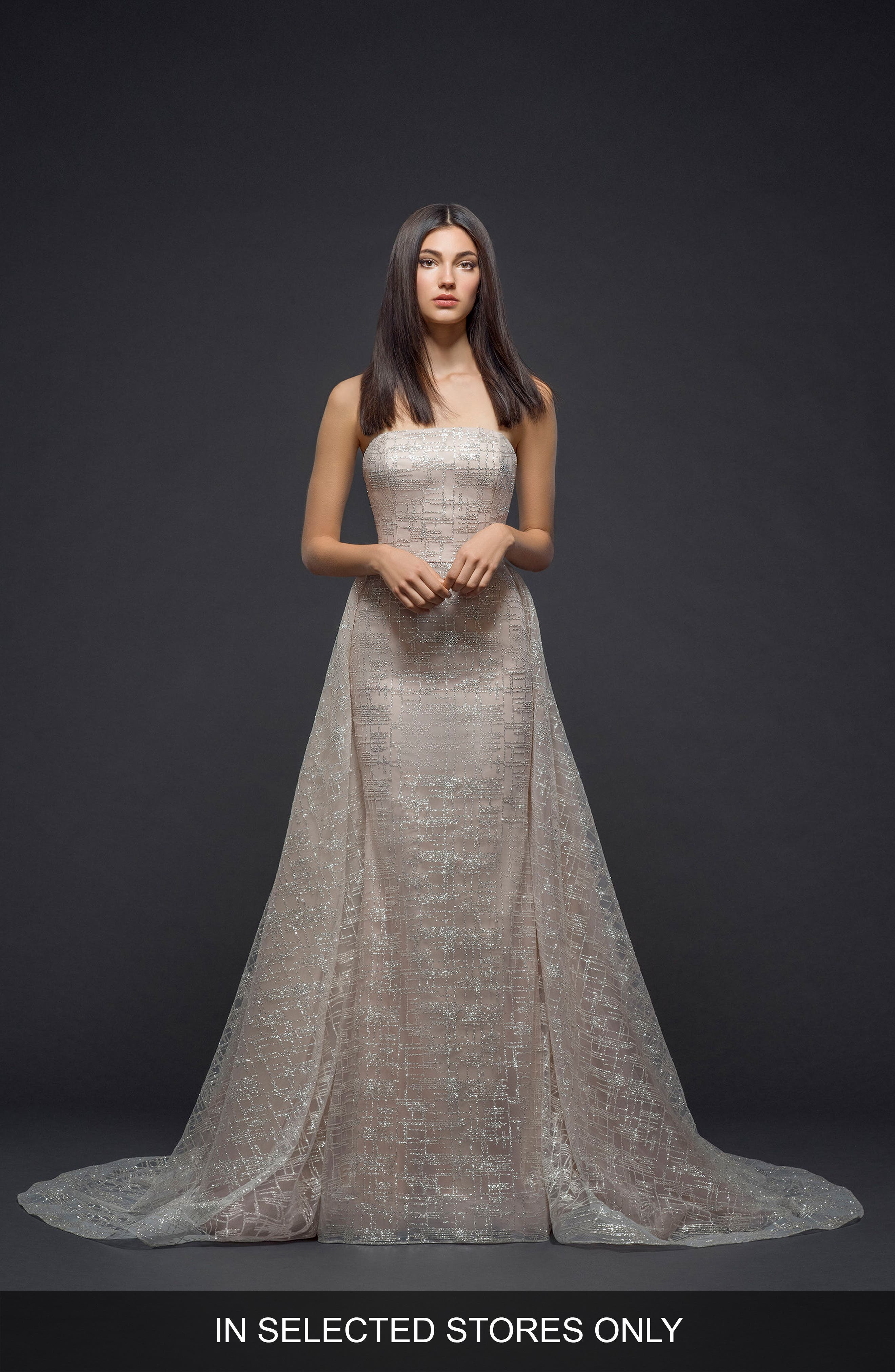 Sparkle Plaid Strapless Gown,                             Main thumbnail 1, color,                             NUDE