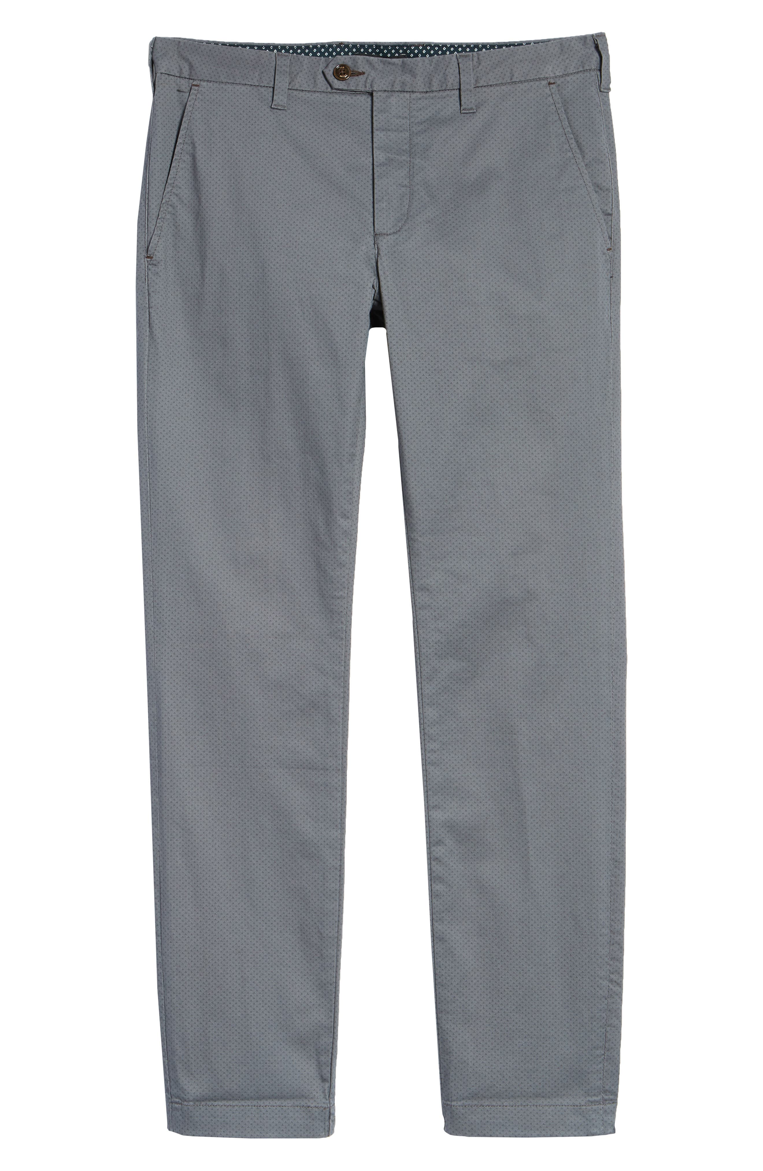 Nalloe Dot Print Slim Trousers,                             Alternate thumbnail 6, color,                             GREY