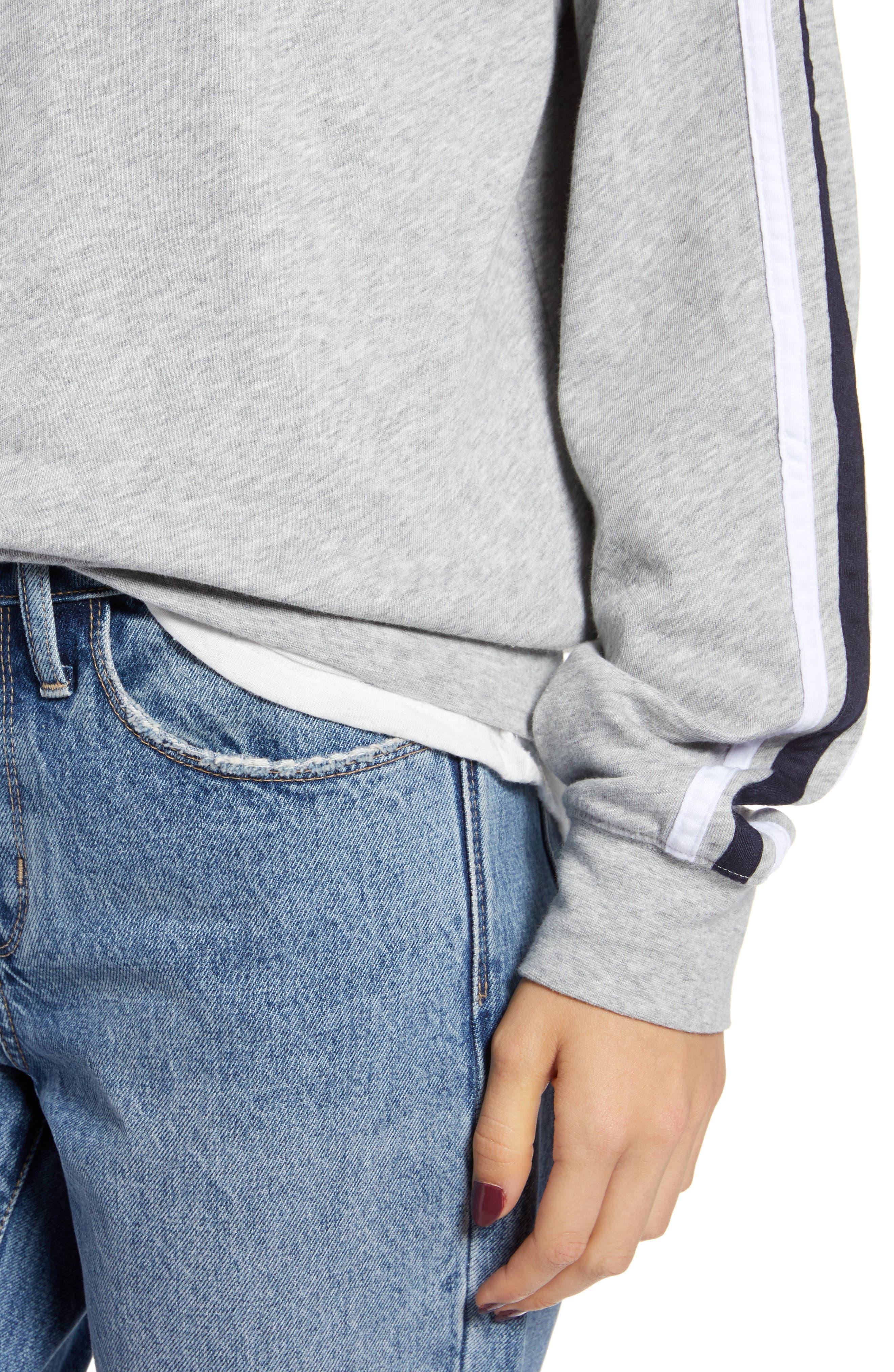 Stripe Raglan Sleeve Sweatshirt,                             Alternate thumbnail 4, color,                             030