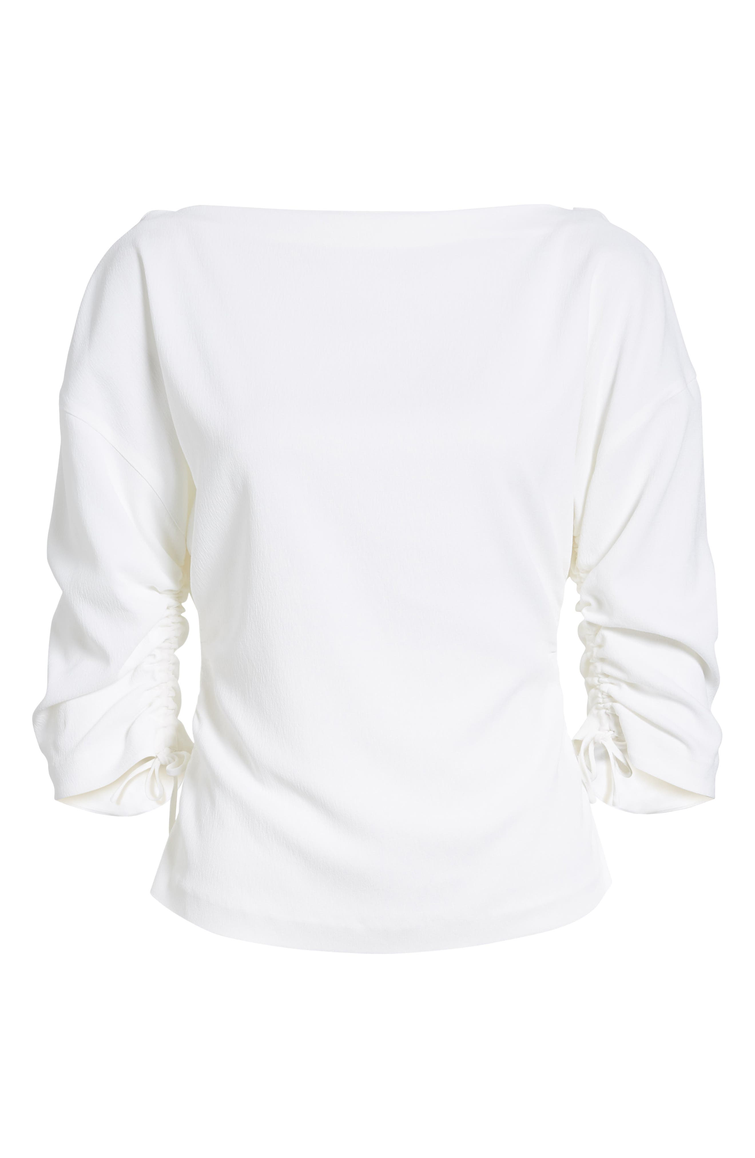 Ruched Crepe Top,                             Alternate thumbnail 7, color,                             100