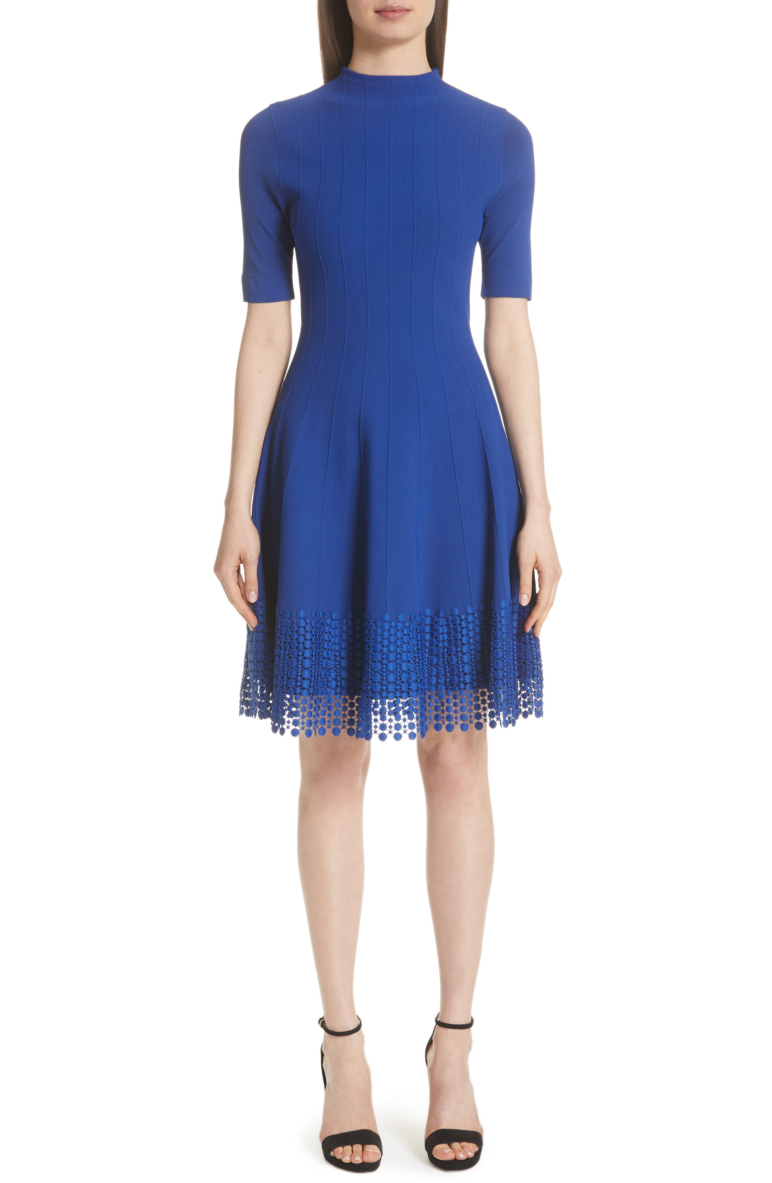 LELA ROSE High-Neck Elbow-Sleeve Fit-And-Flare Knit Dress With Lace Hem in Lapis