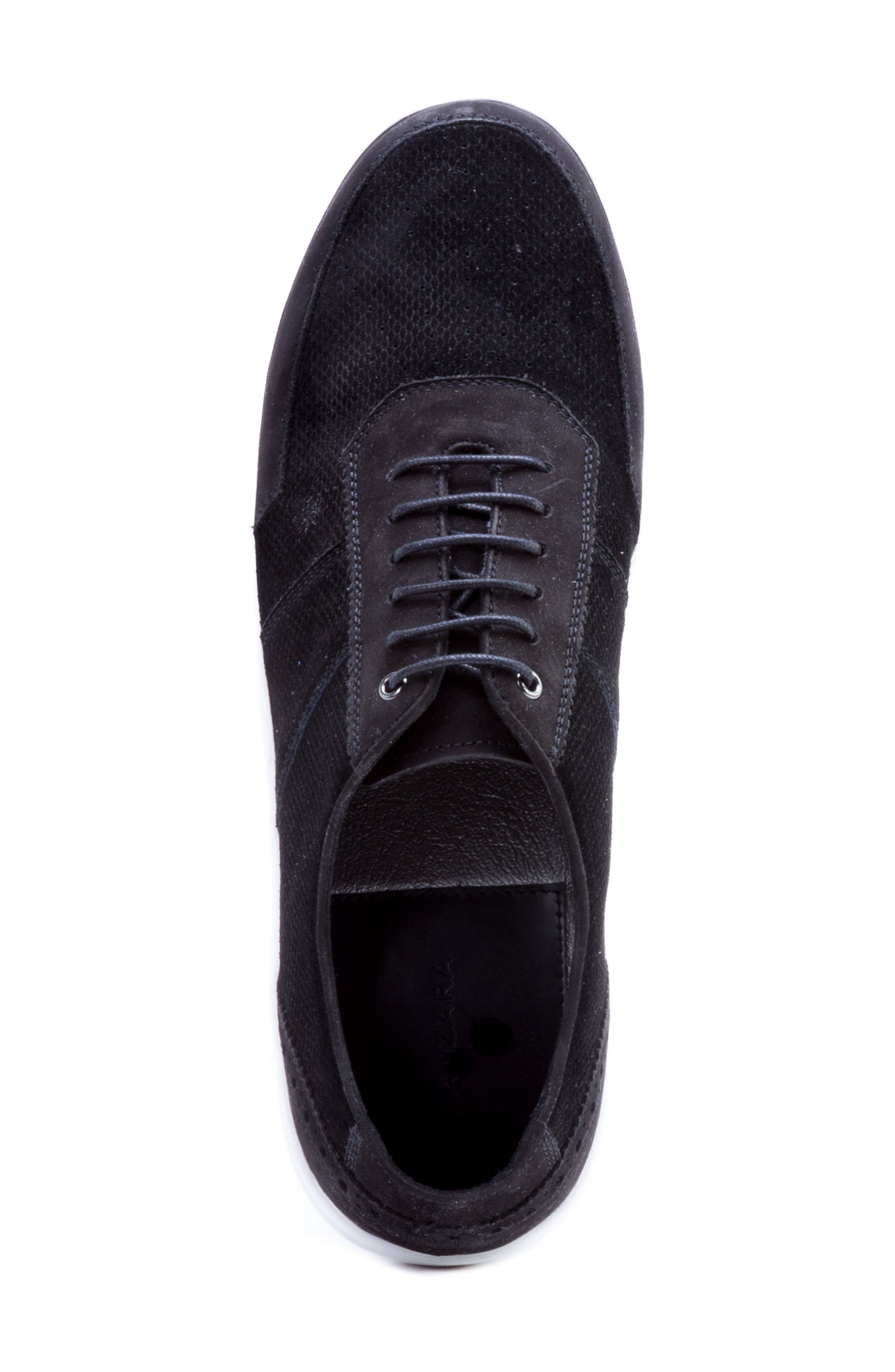 House Low Top Sneaker,                             Alternate thumbnail 5, color,                             BLACK SUEDE/ LEATHER