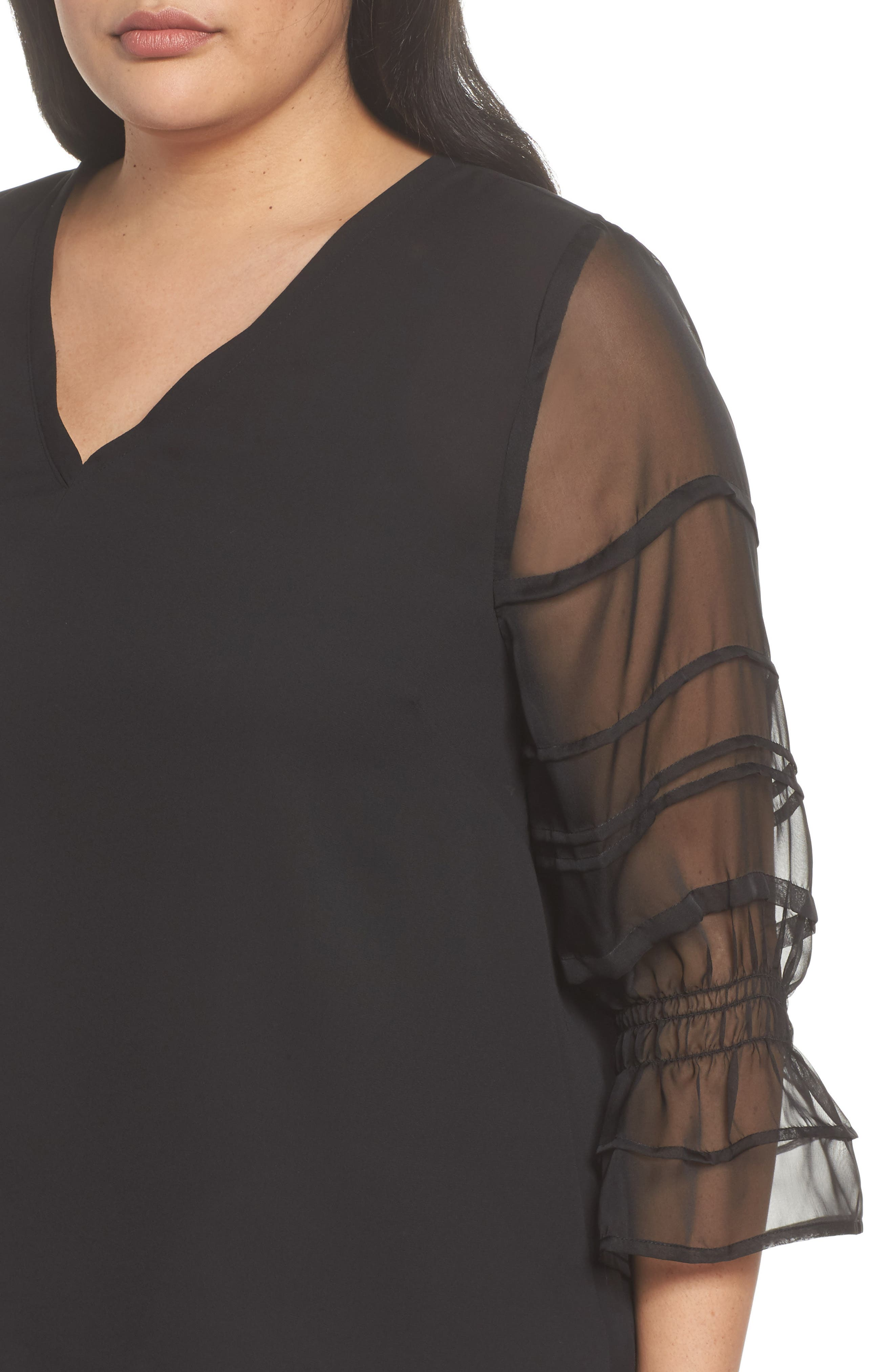 Pleat Sleeve Top,                             Alternate thumbnail 4, color,