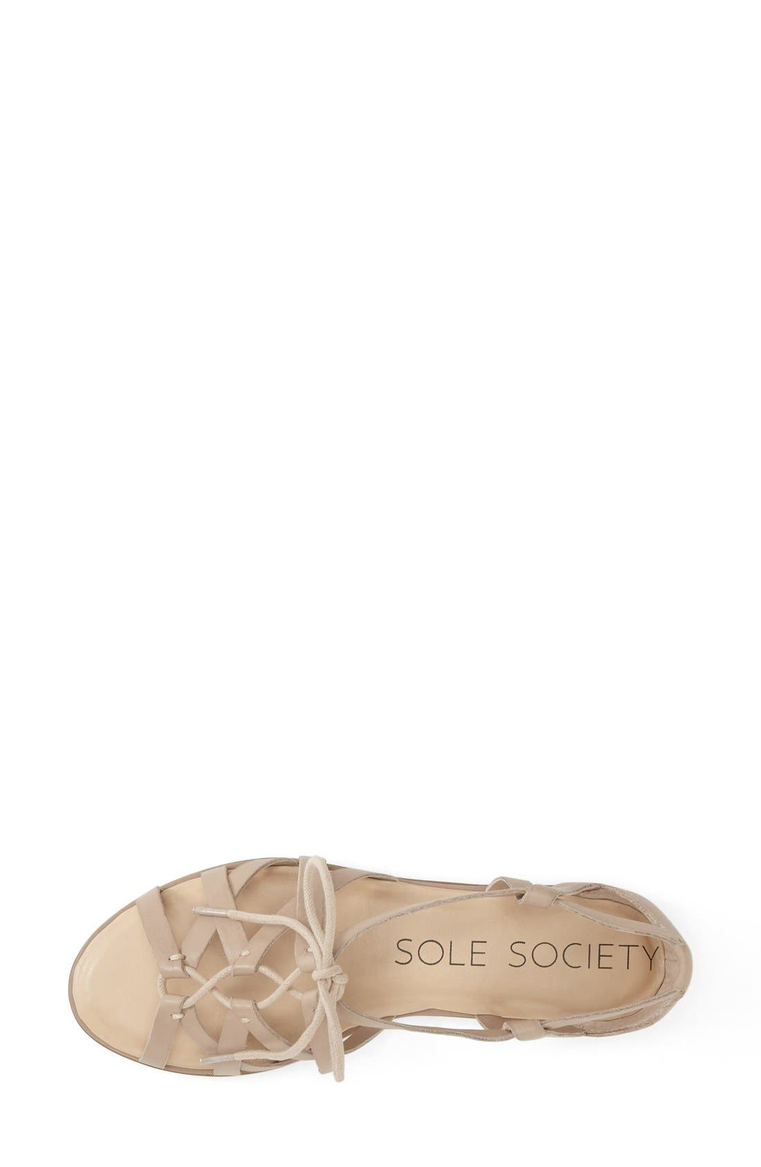 SOLE SOCIETY,                             'Gillian' Gladiator Sandal,                             Alternate thumbnail 3, color,                             200