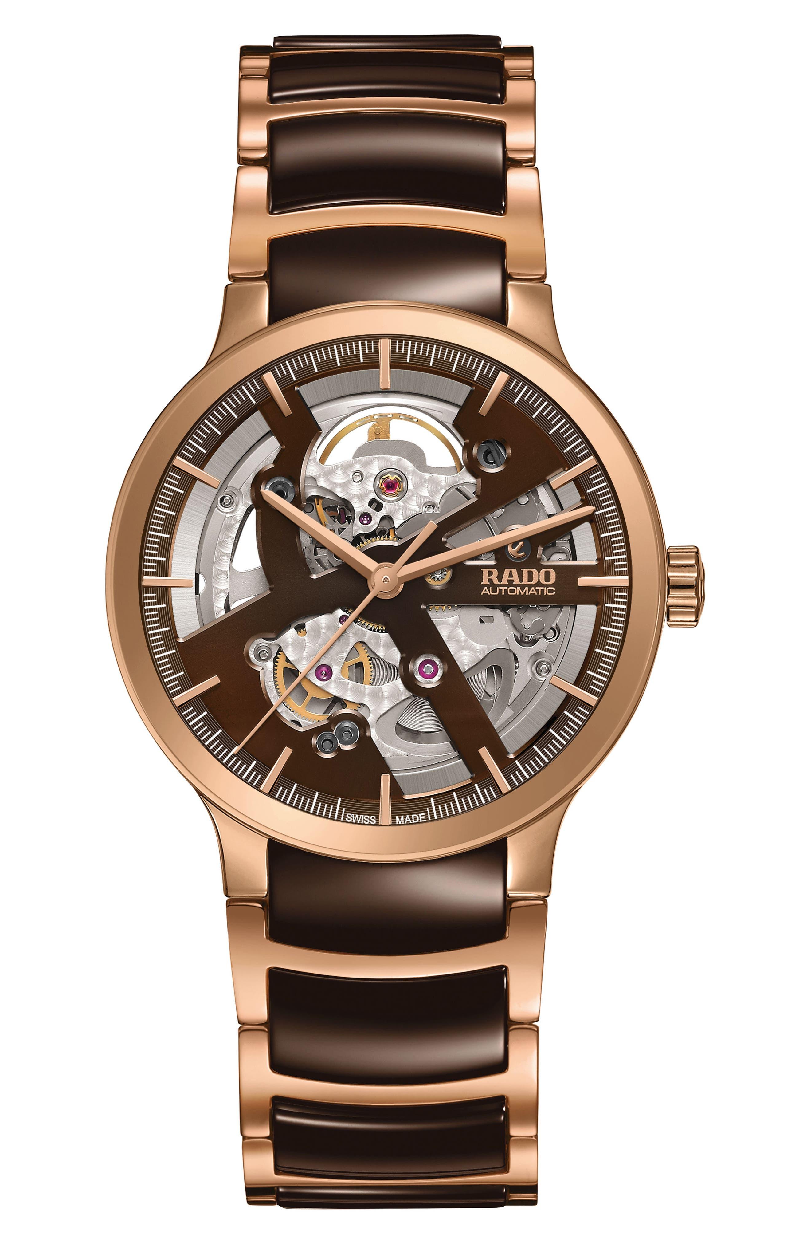RADO,                             Centrix Automatic Open Heart Ceramic Bracelet Watch, 38mm,                             Main thumbnail 1, color,                             BROWN/ ROSE GOLD