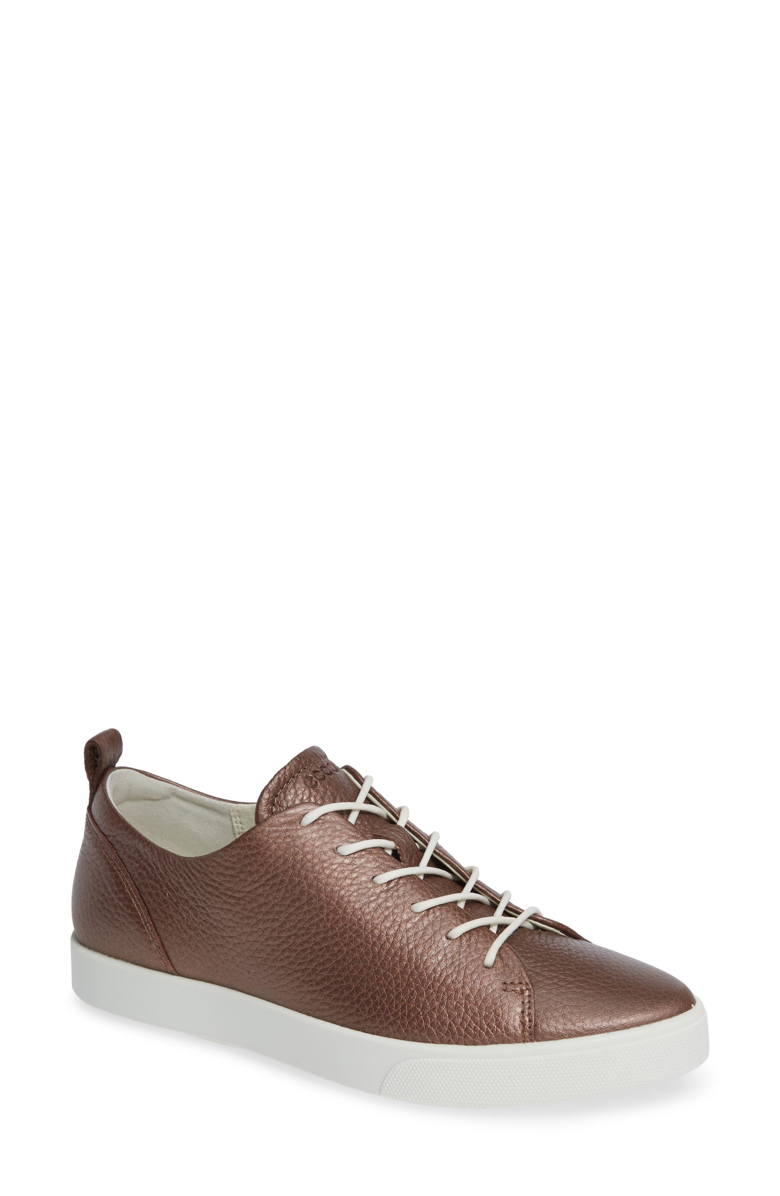 Gillian Sneaker,                         Main,                         color, DEEP TAUPE/ BRONZE LEATHER
