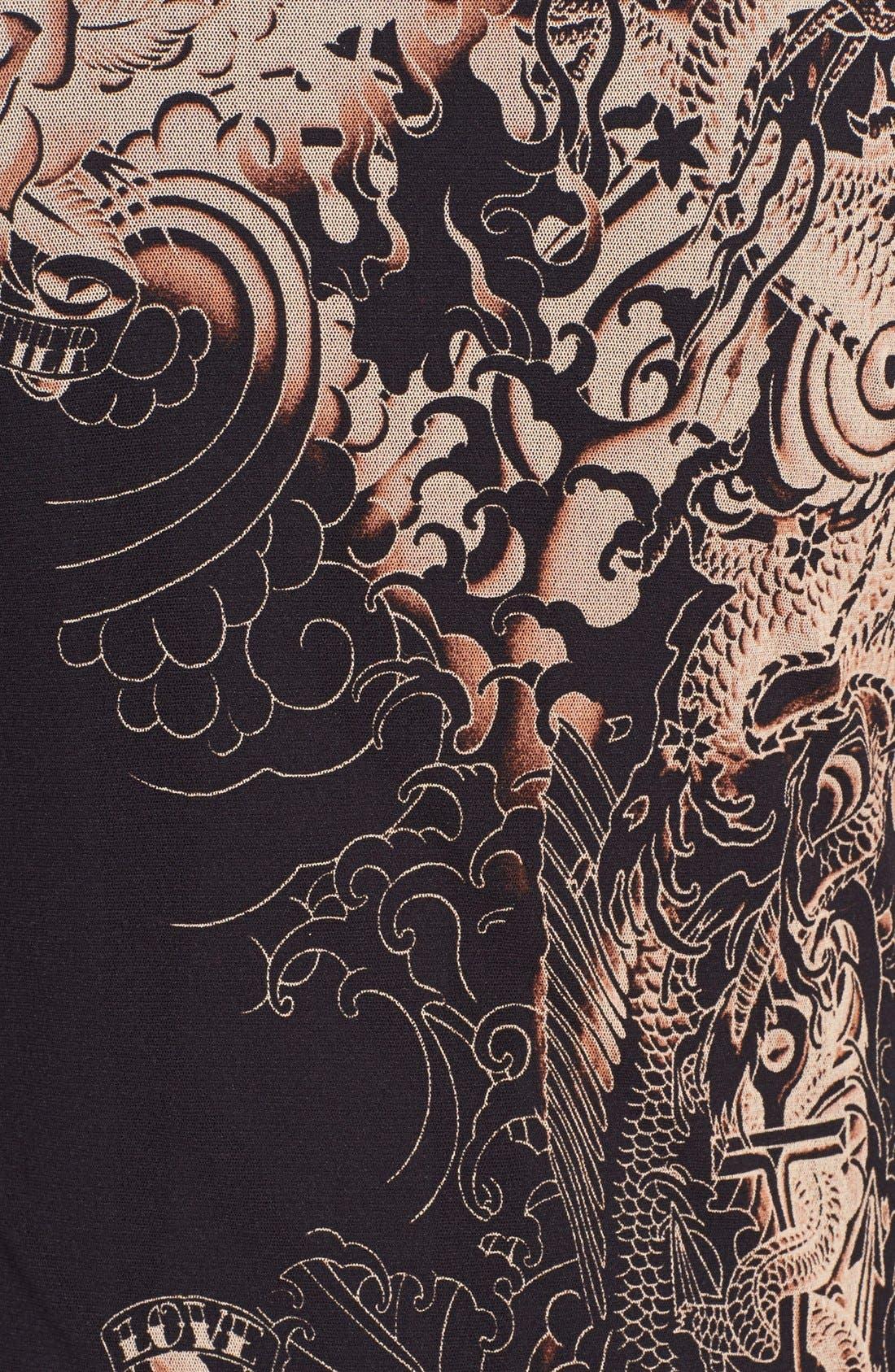 Tattoo Print Midi Dress,                             Alternate thumbnail 3, color,                             002