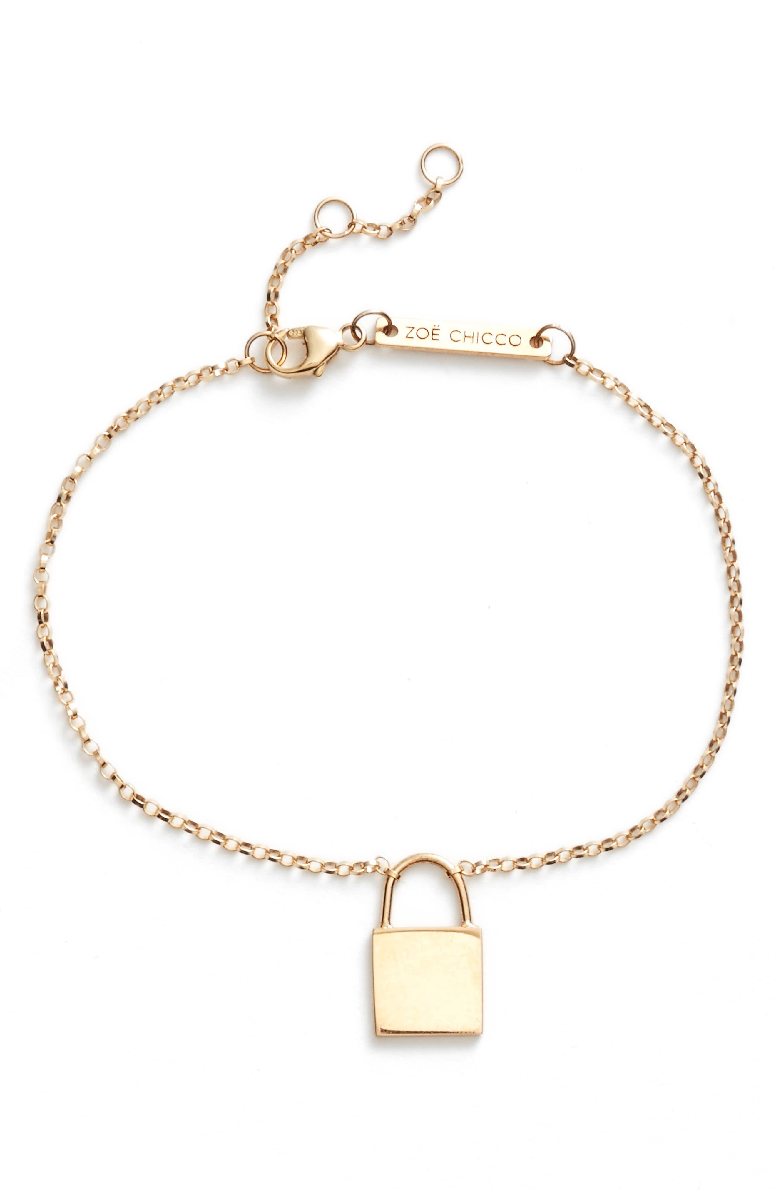 Small Padlock Bracelet,                             Main thumbnail 1, color,                             YELLOW GOLD