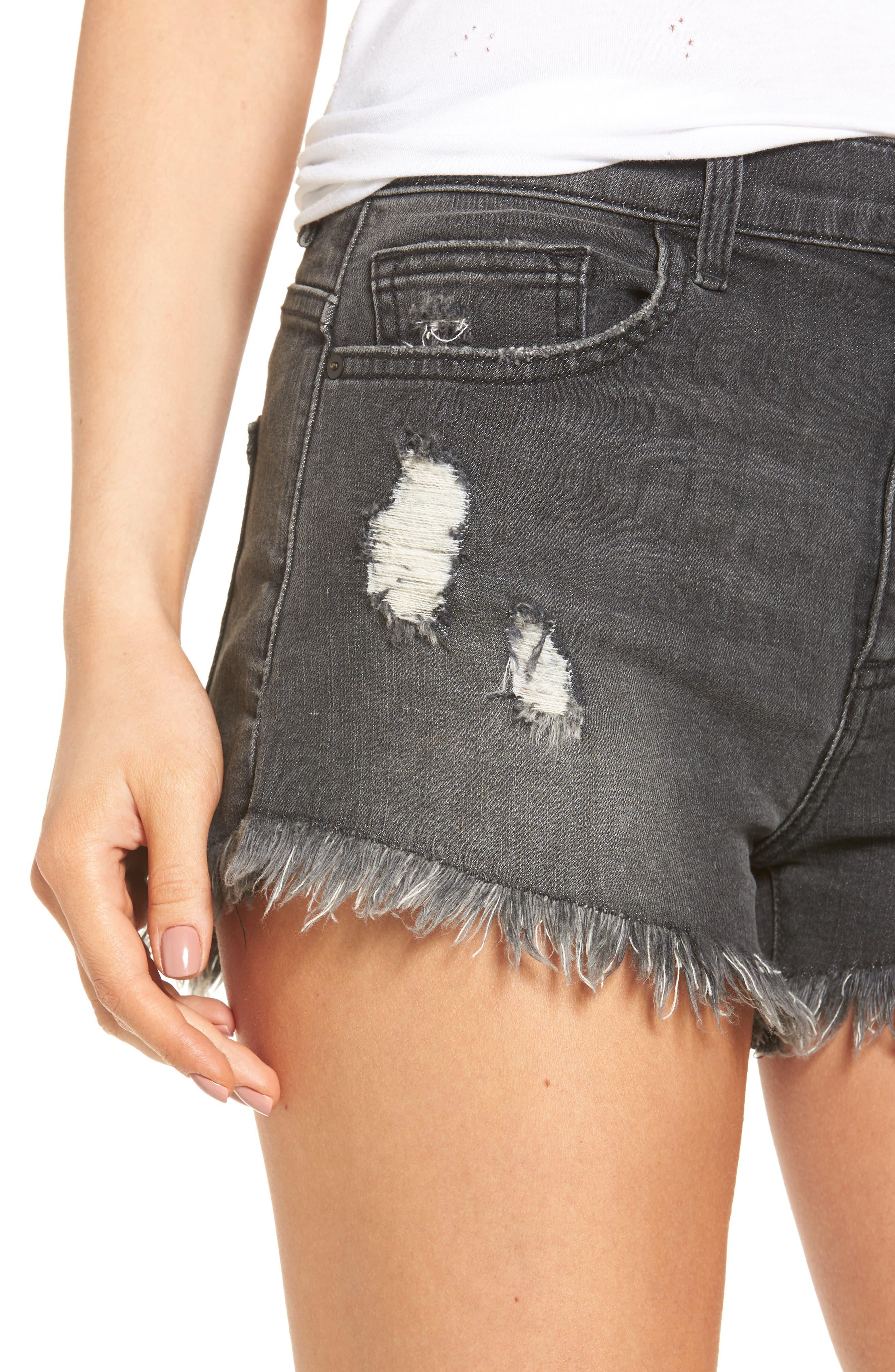 Frayed Hem Denim Shorts,                             Alternate thumbnail 4, color,                             001