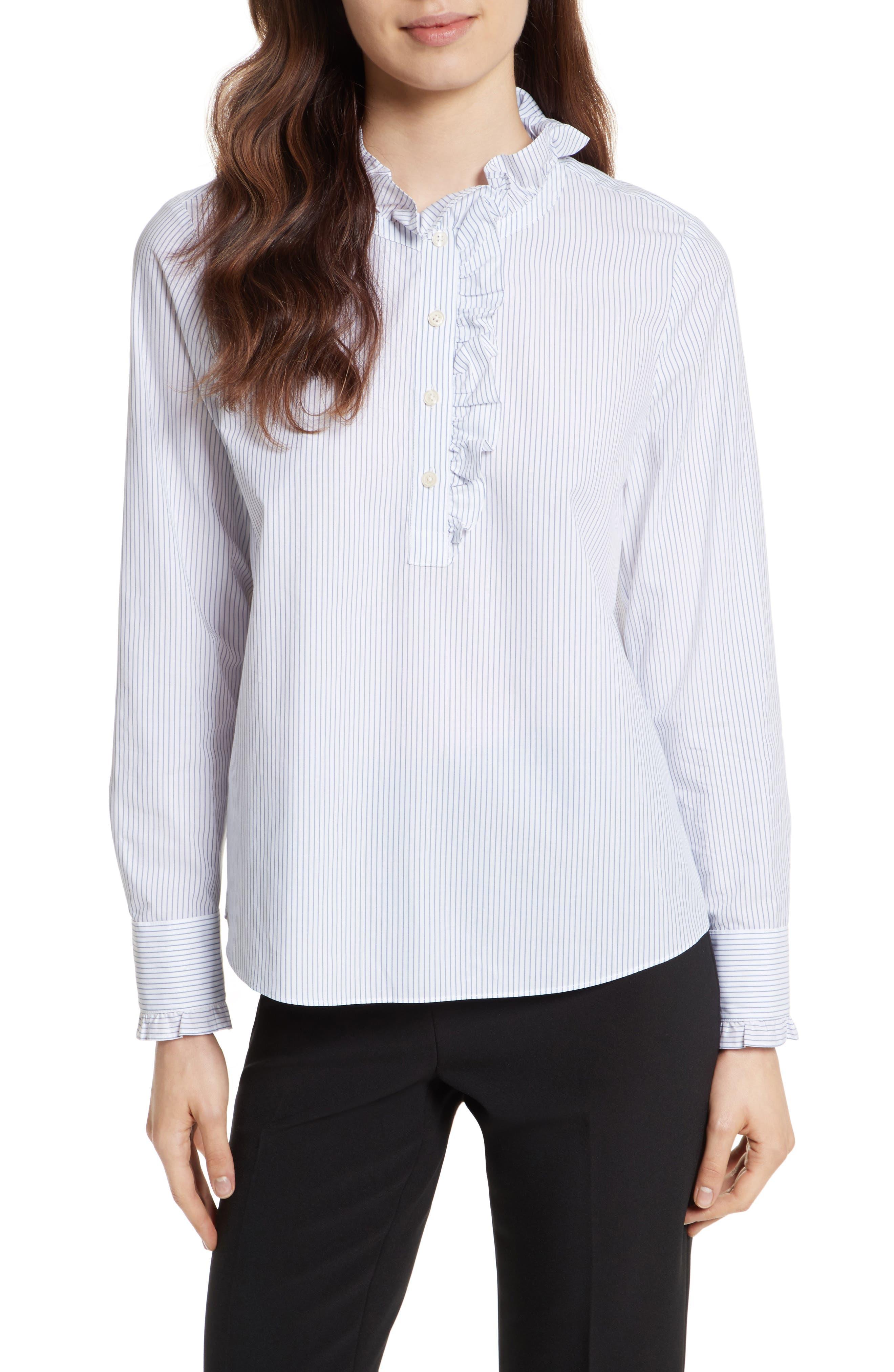 stripe ruffle neck poplin shirt,                             Main thumbnail 1, color,