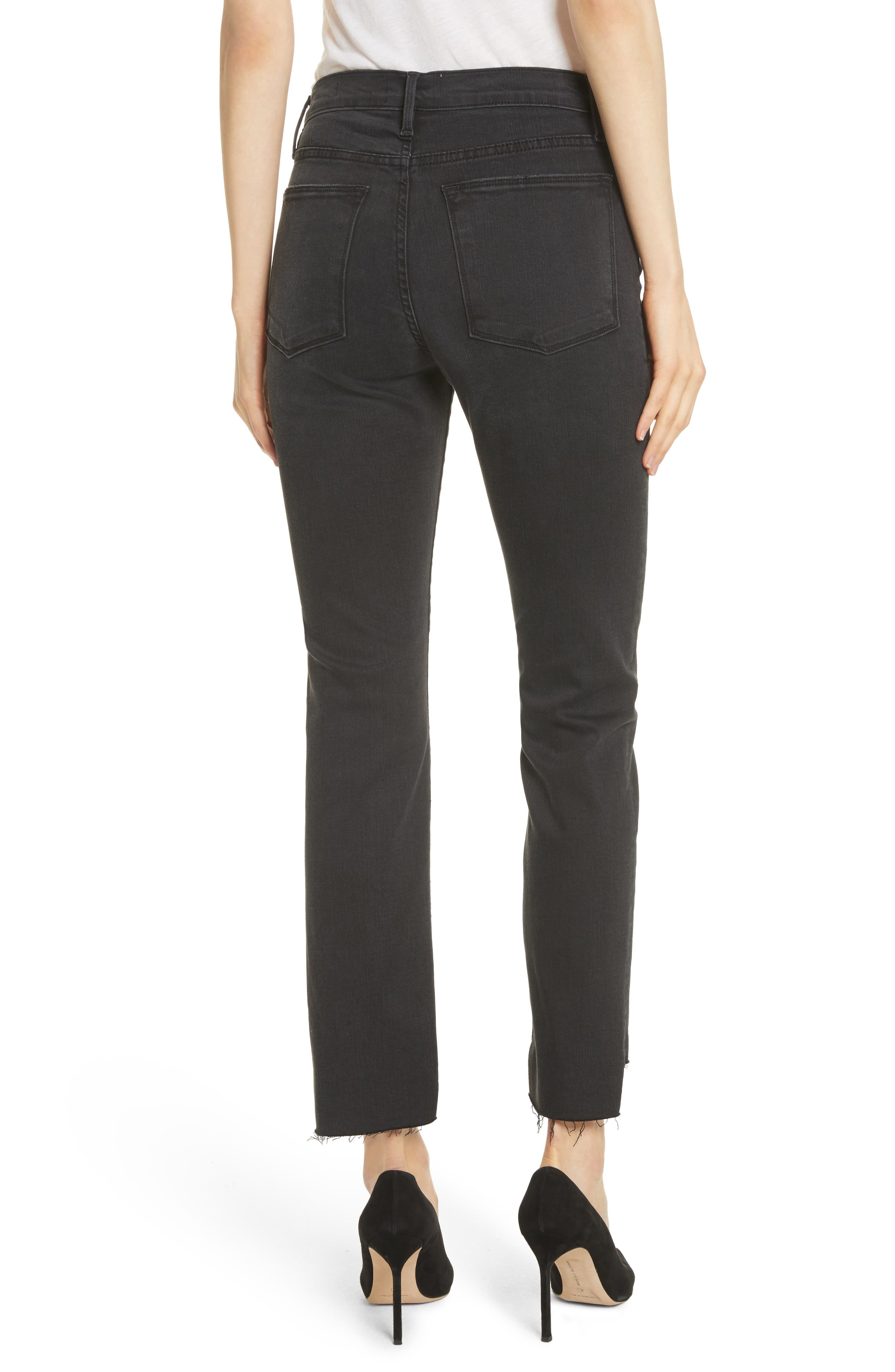 Le High Raw Stagger Straight Jeans,                             Alternate thumbnail 2, color,                             001