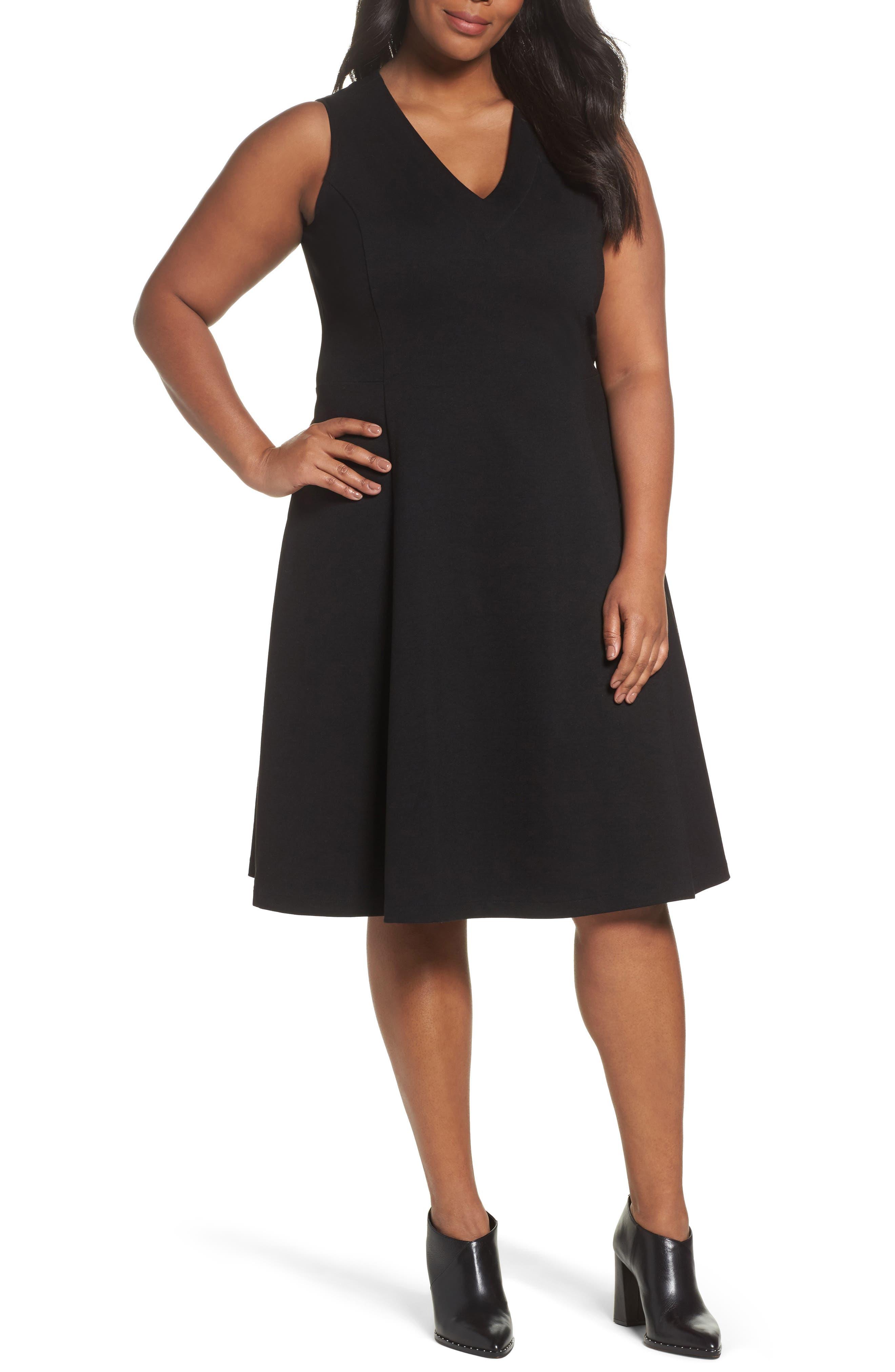 V-Neck Ponte Fit & Flare Dress,                         Main,                         color, BLACK