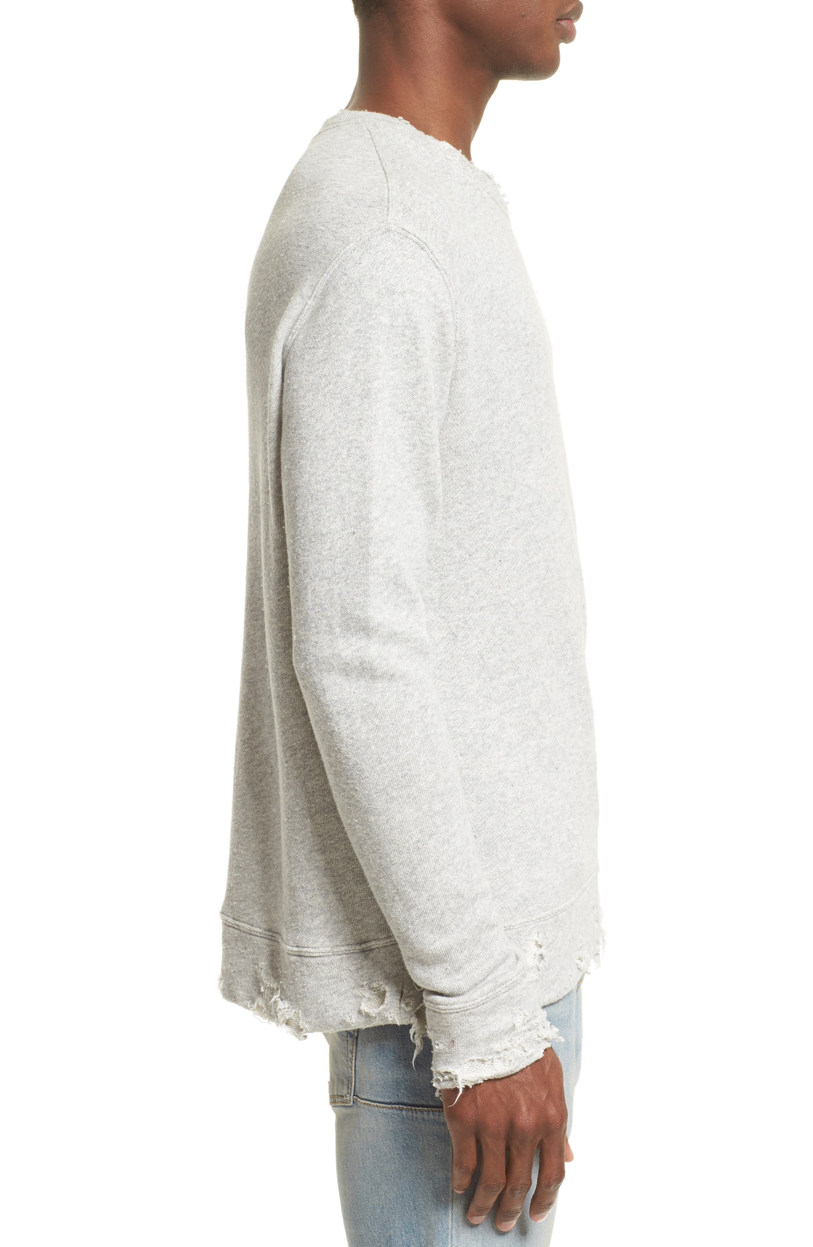R13,                             Vintage Distressed Sweatshirt,                             Alternate thumbnail 3, color,                             071