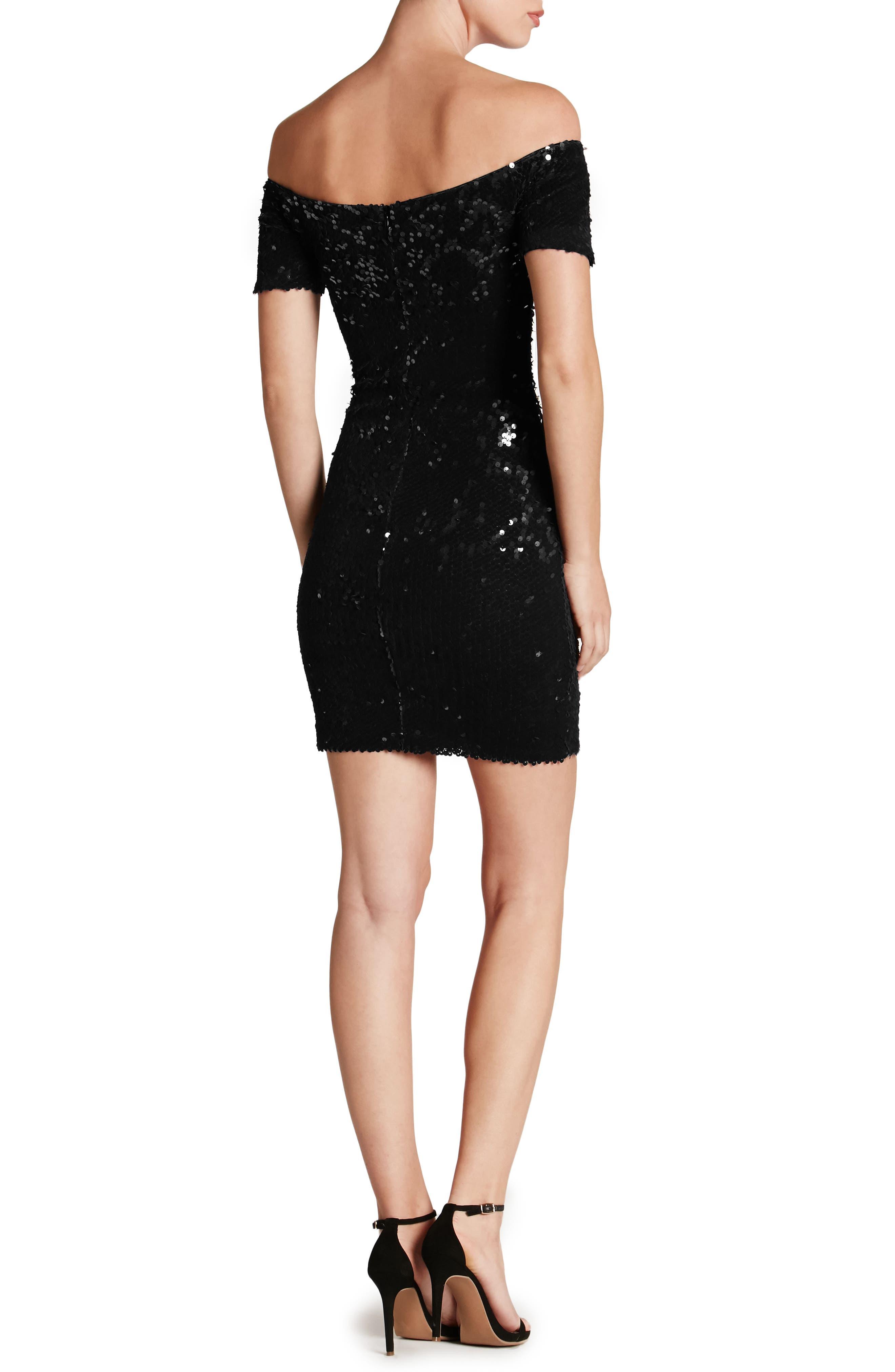 Larissa Sequin Off the Shoulder Body-Con Dress,                             Alternate thumbnail 2, color,                             001