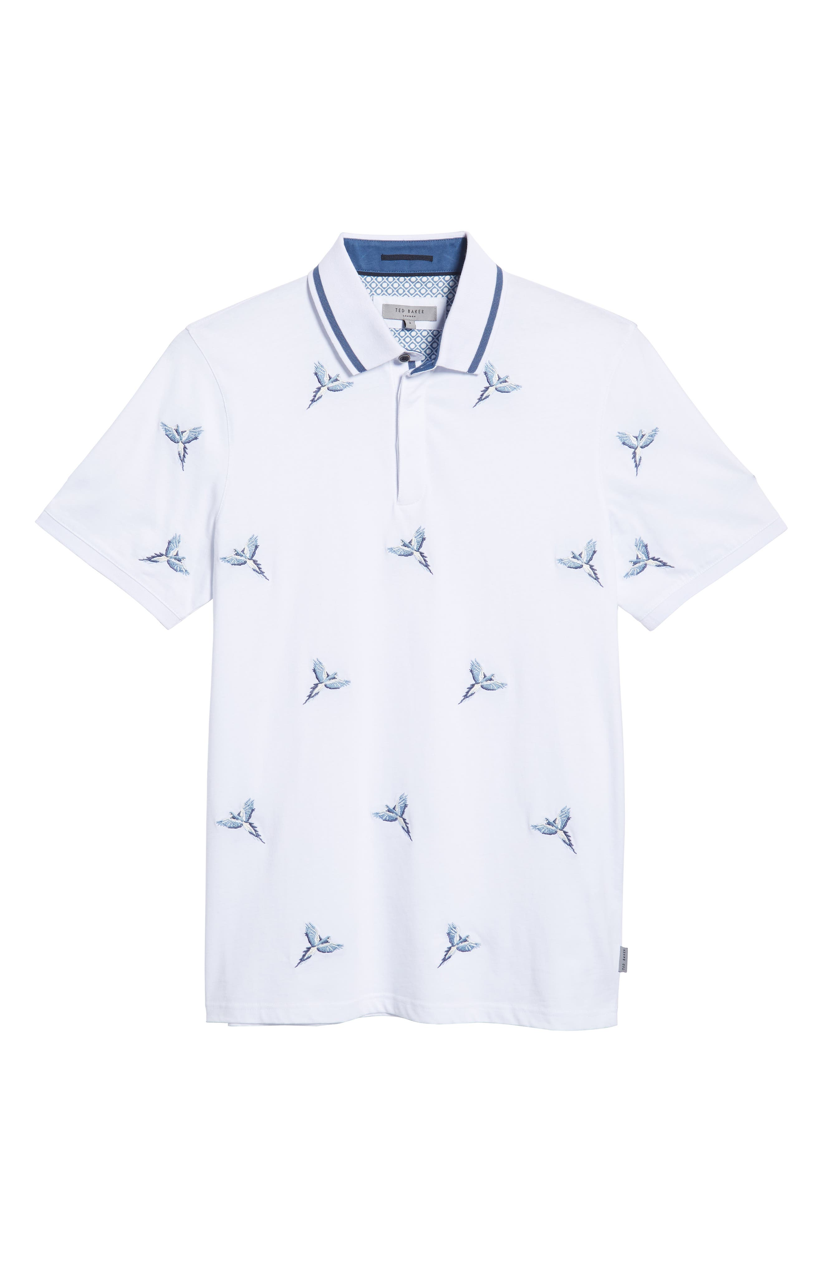 Slim Fit Hapnes Embroidered Bird Polo,                             Alternate thumbnail 6, color,                             WHITE