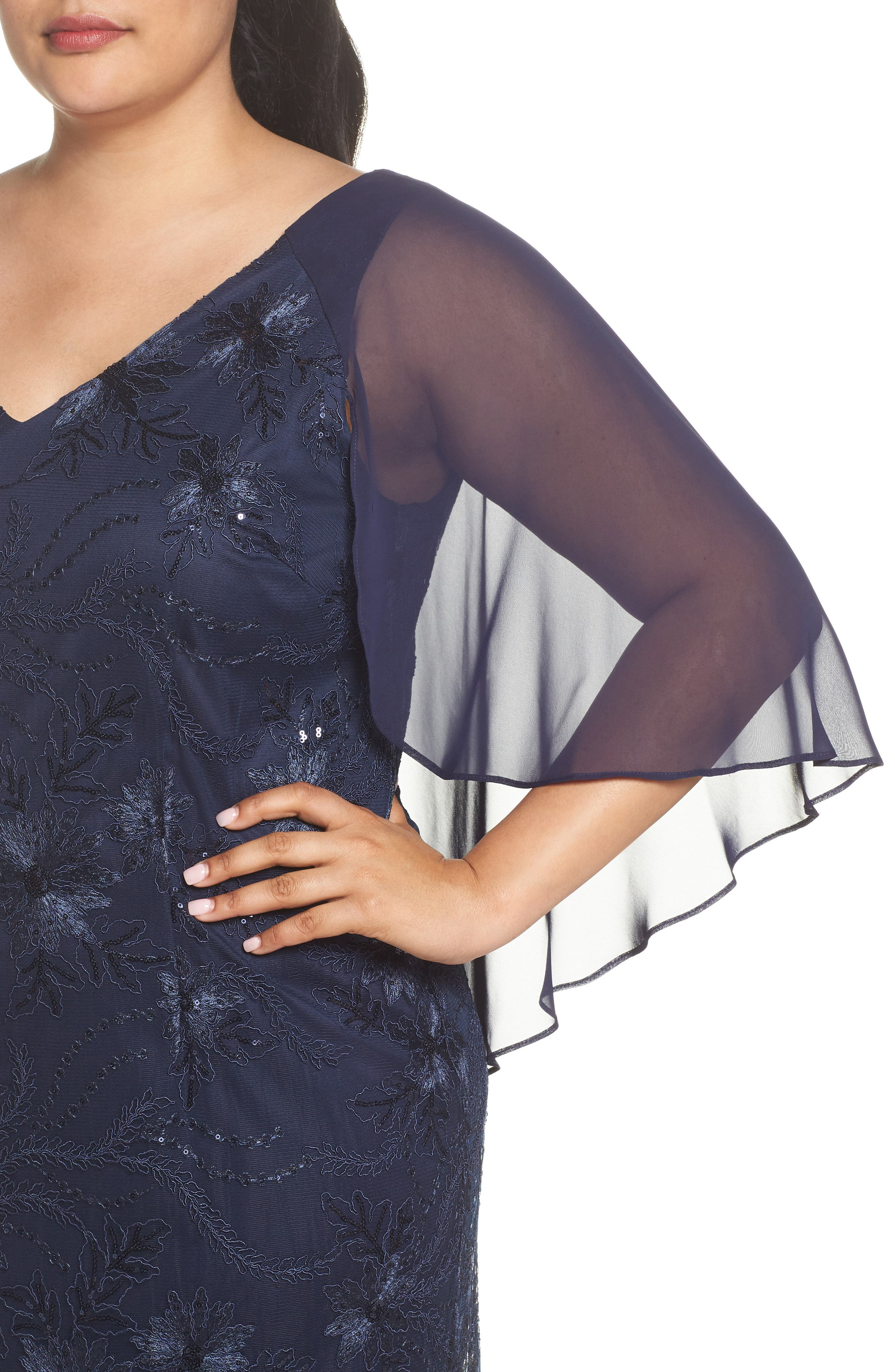 Embellished Capelet Gown,                             Alternate thumbnail 4, color,                             NAVY