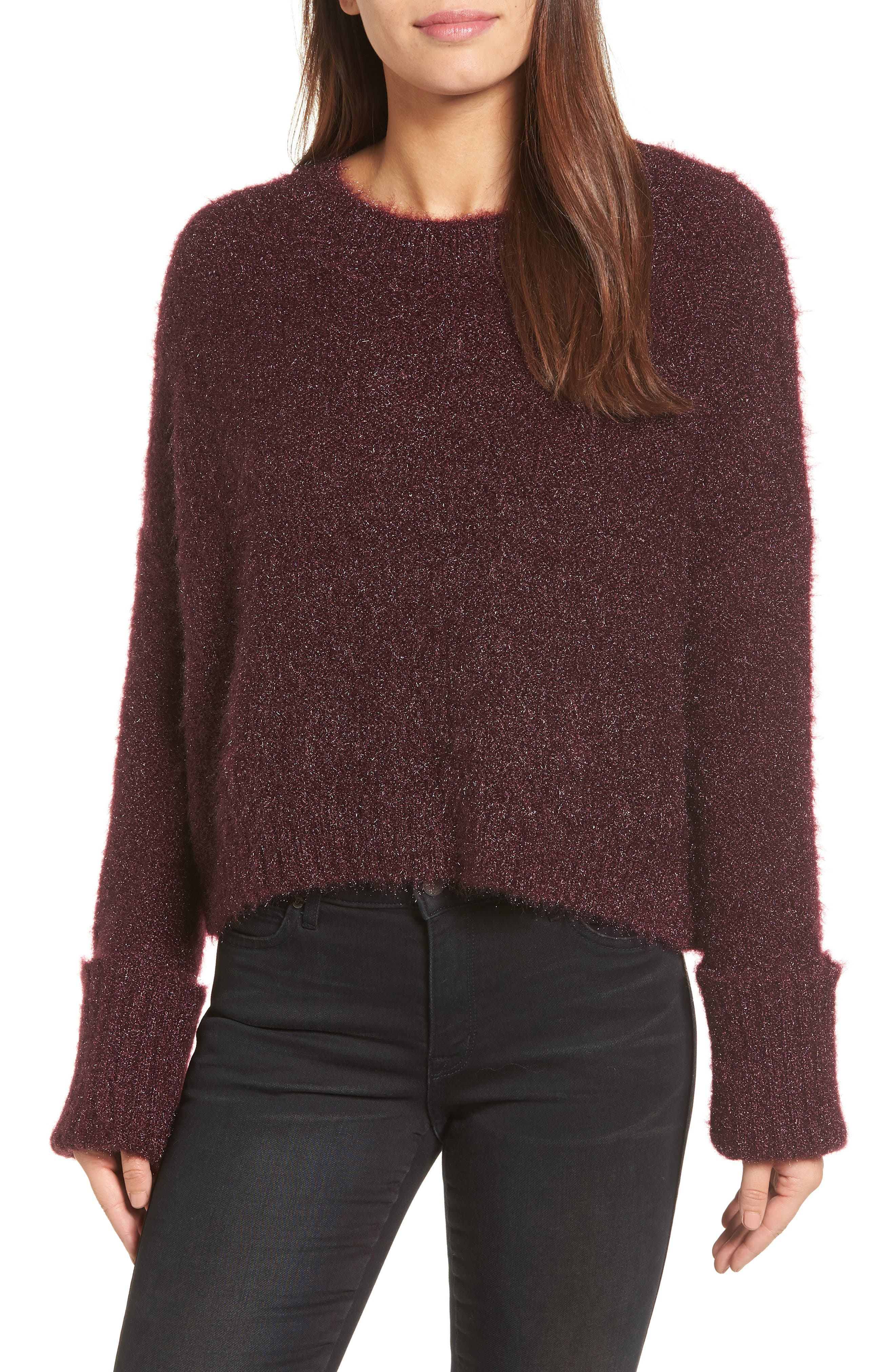 Large Cuff Crop Sweater,                             Main thumbnail 2, color,