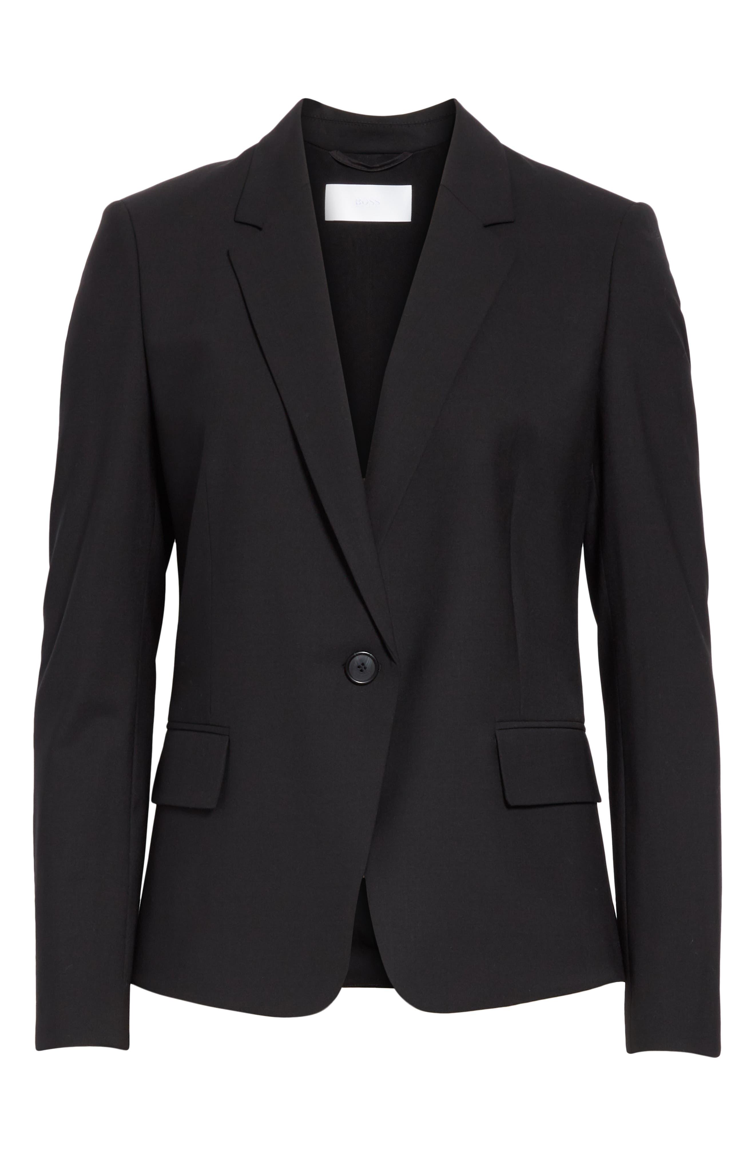 BOSS,                             Jaela Stretch Wool Suit Jacket,                             Alternate thumbnail 5, color,                             BLACK