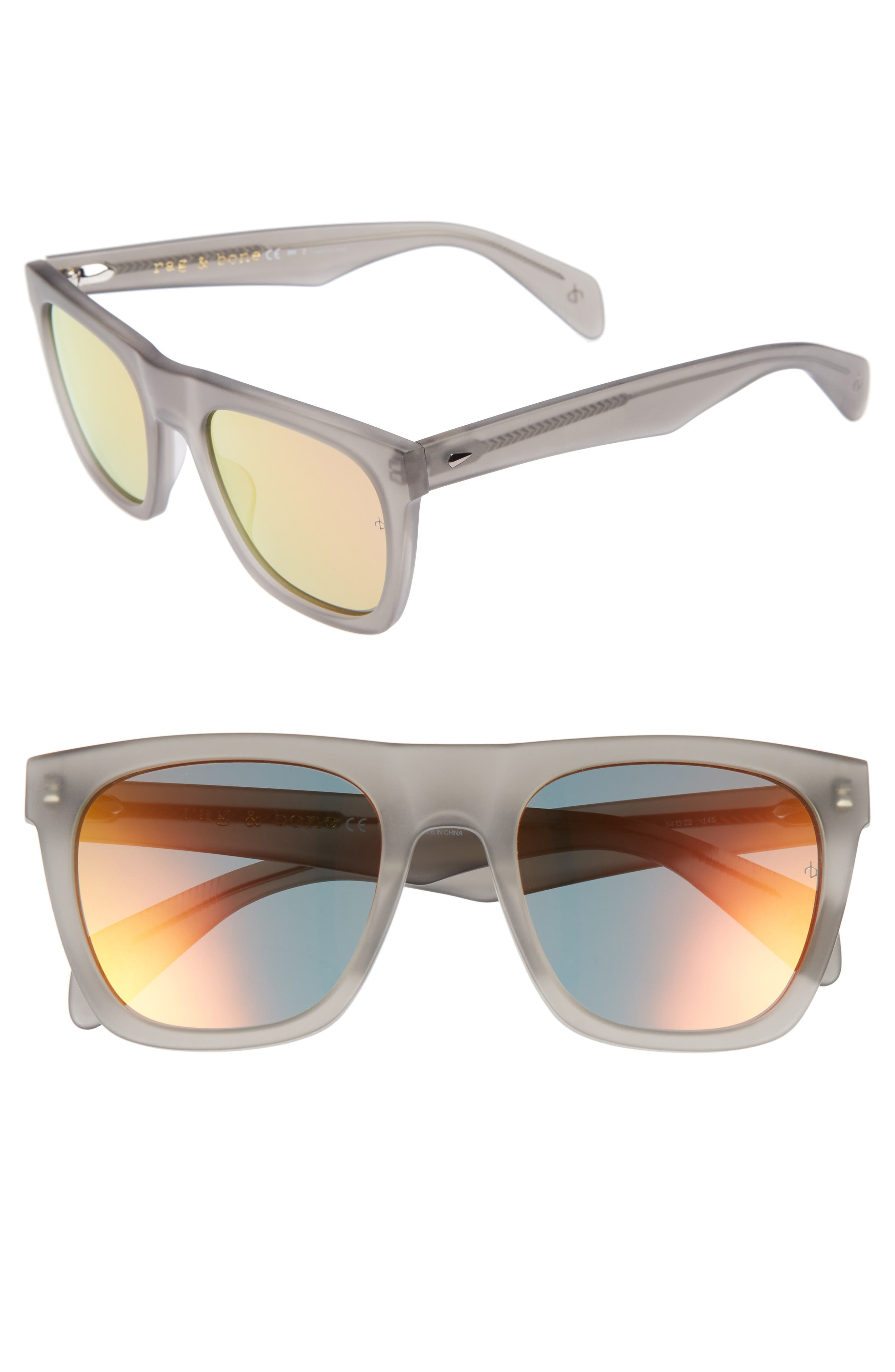 54mm Mirrored Sunglasses,                         Main,                         color, MATTE GREY