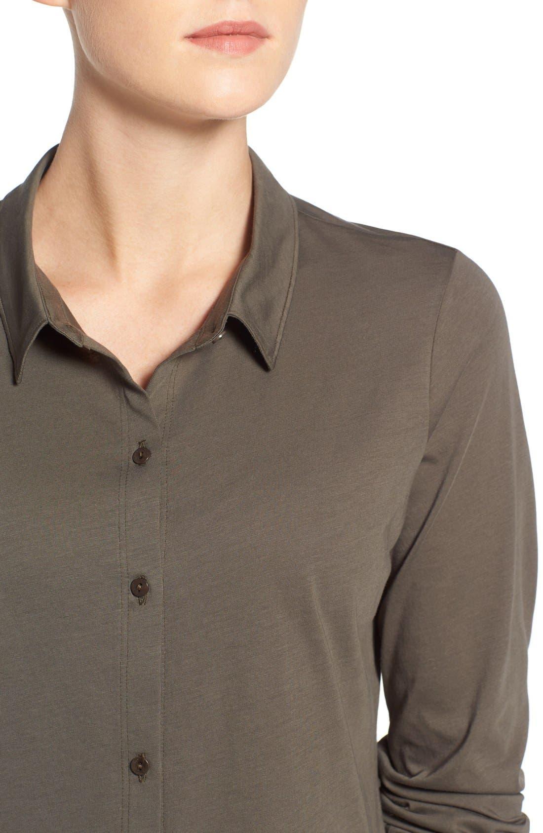 Organic Cotton Jersey Classic Collar Shirt,                             Alternate thumbnail 16, color,