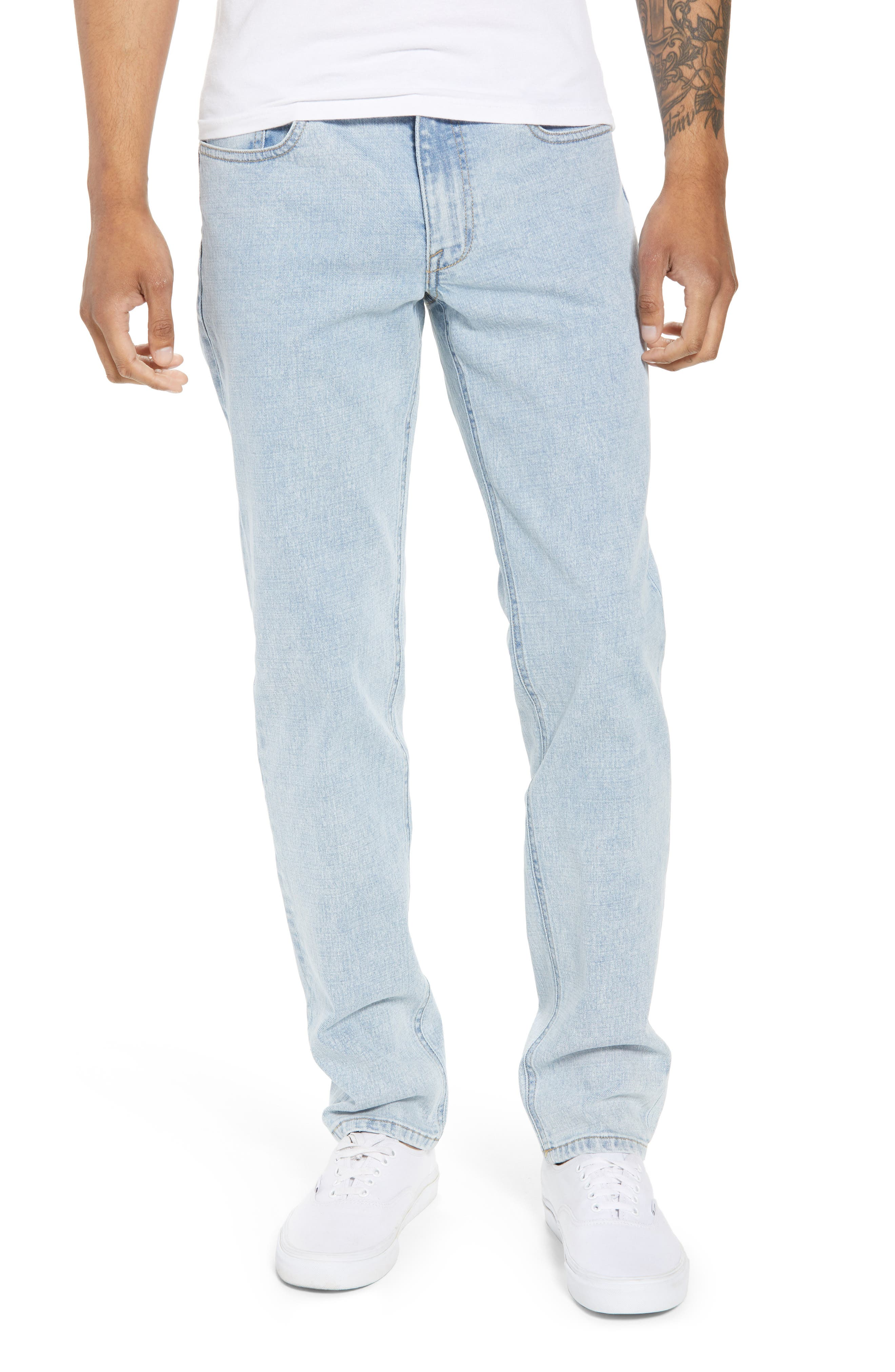 Acid Wash Stretch Slim Leg Jeans,                             Main thumbnail 1, color,                             BLUE VEDDER WASH
