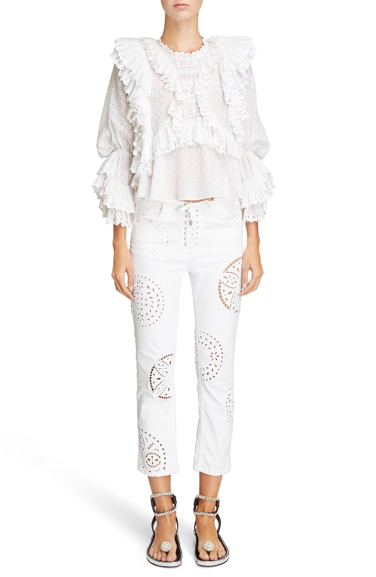 Ruffle Detail Broderie Anglaise Top,                             Alternate thumbnail 6, color,                             100