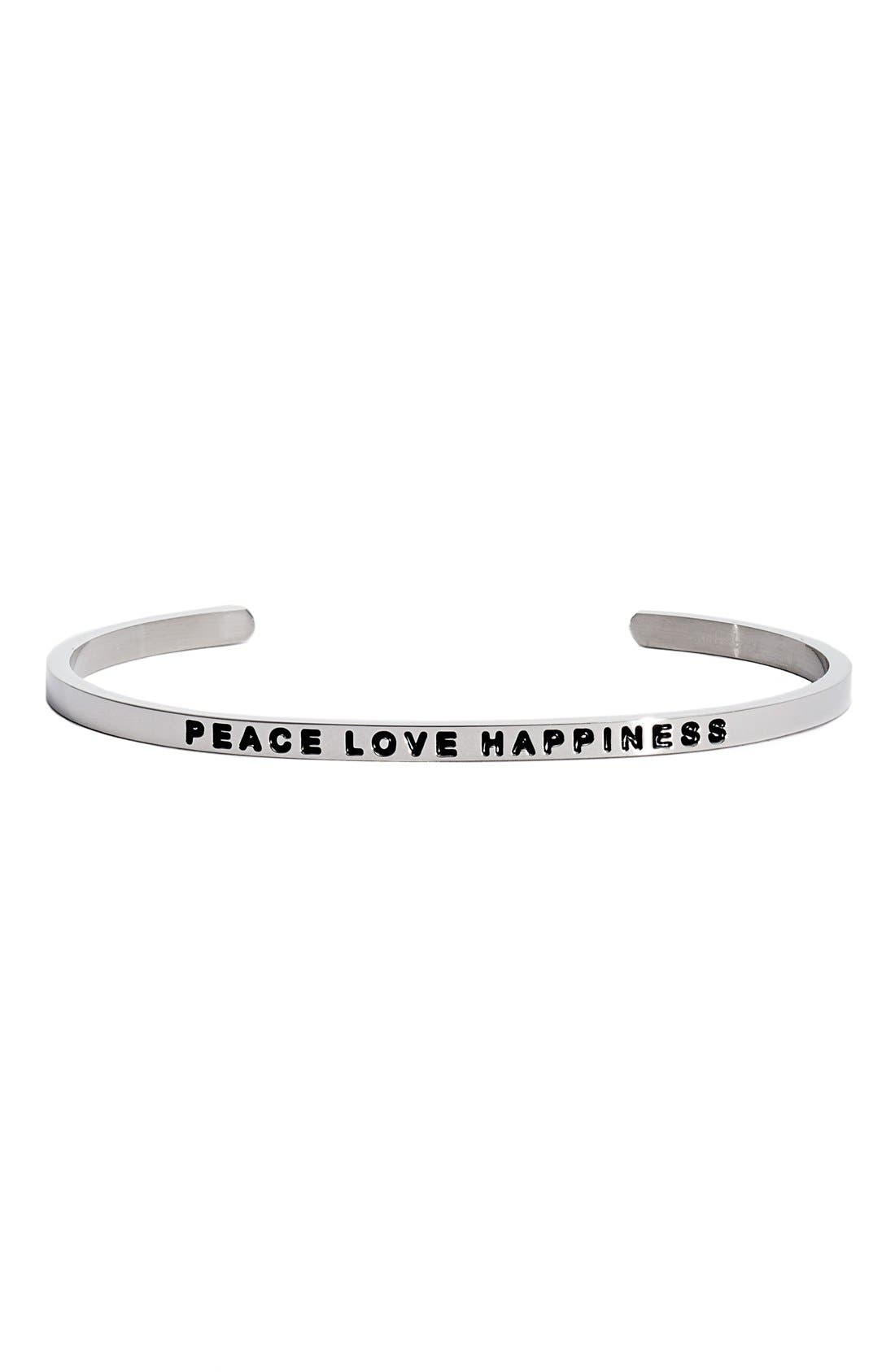 """""""Peace Love Happiness"""" Cuff,                             Main thumbnail 1, color,"""