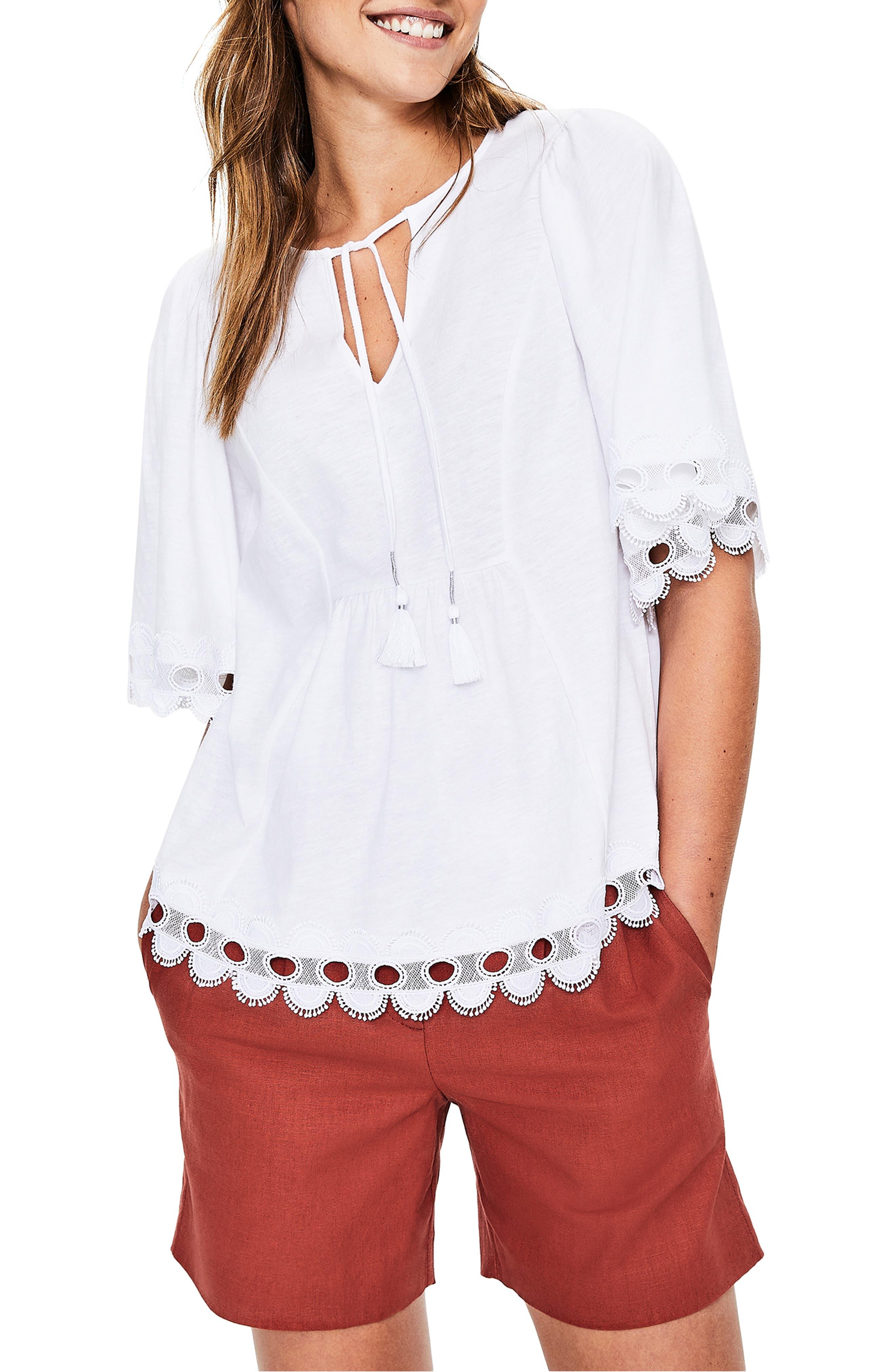 Lace Trim Caftan Top, Main, color, WHITE