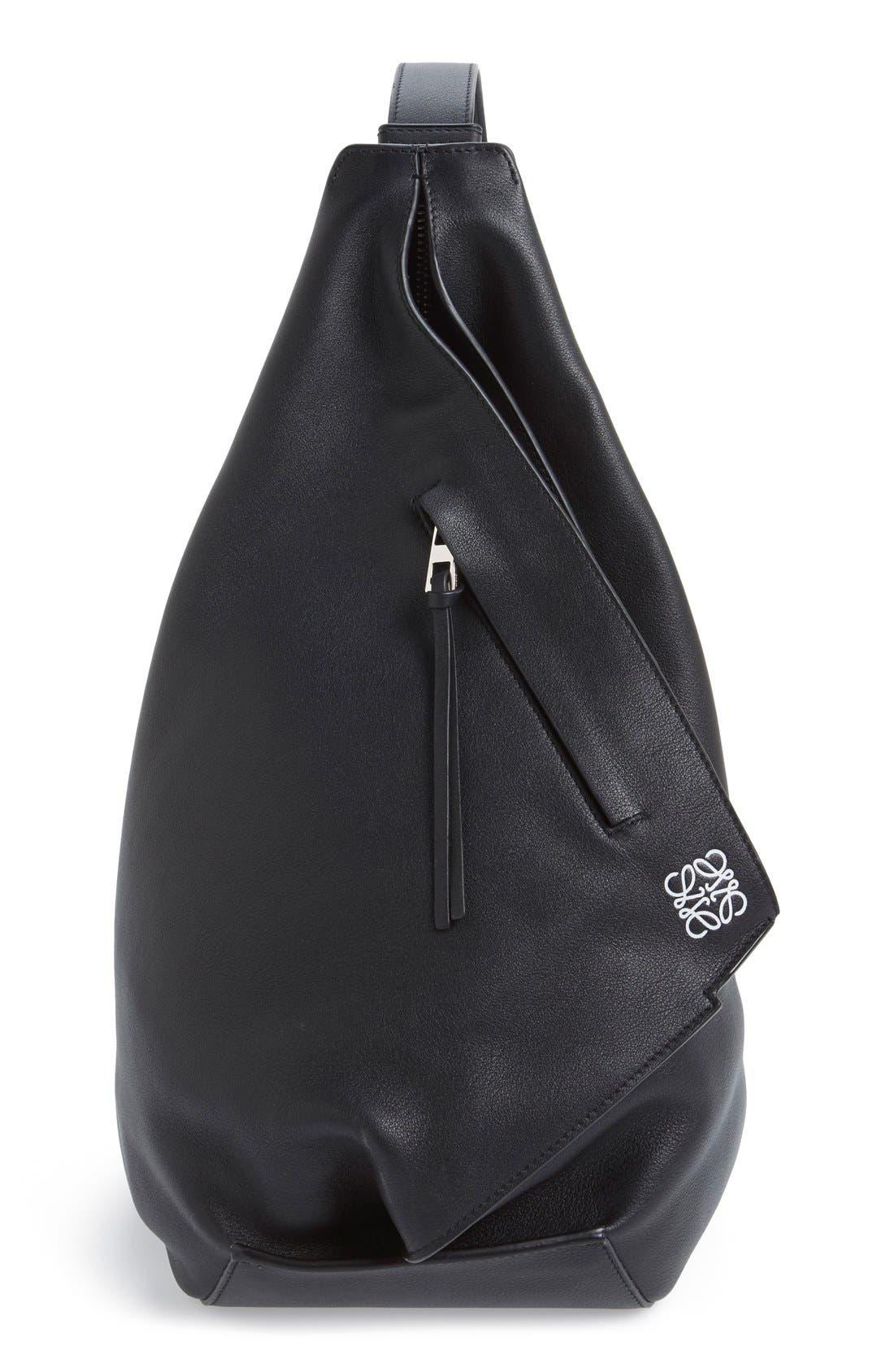 'Small Anton' Calfskin Leather Sling Bag,                             Main thumbnail 1, color,                             001