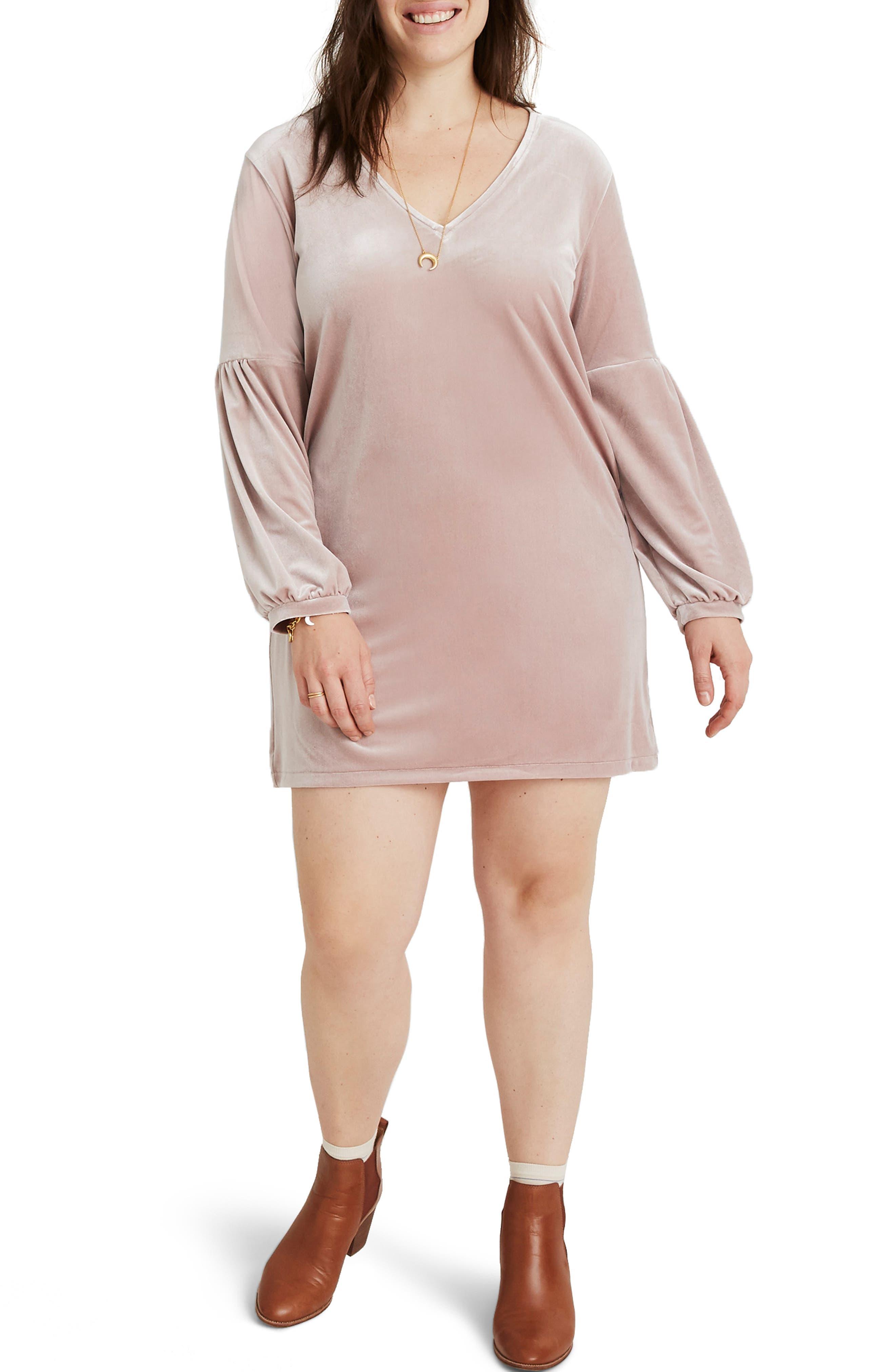 Balloon Sleeve Velvet Dress,                             Alternate thumbnail 2, color,                             WISTERIA DOVE