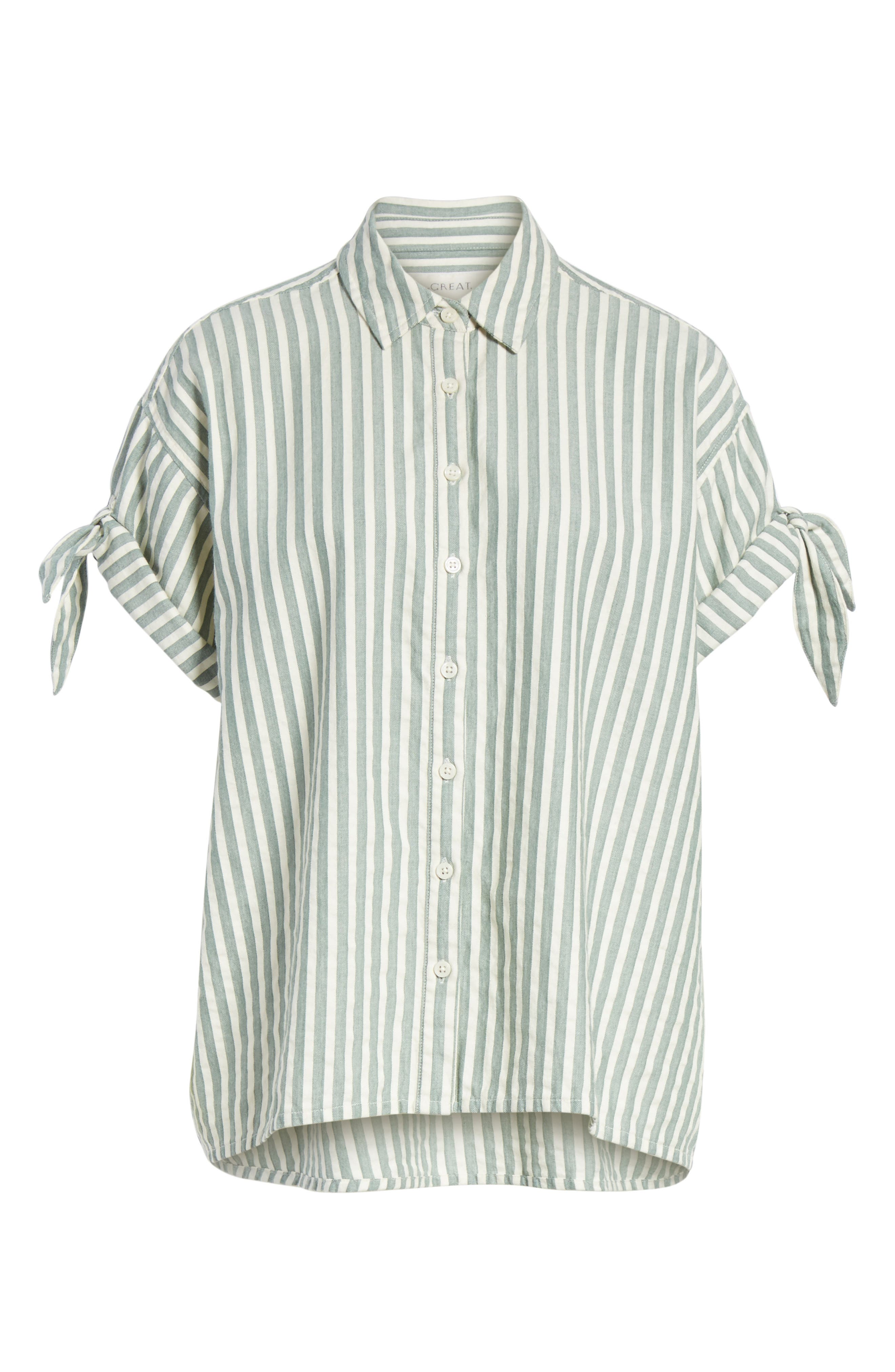 The Tie Sleeve Stripe Shirt,                             Alternate thumbnail 6, color,                             300