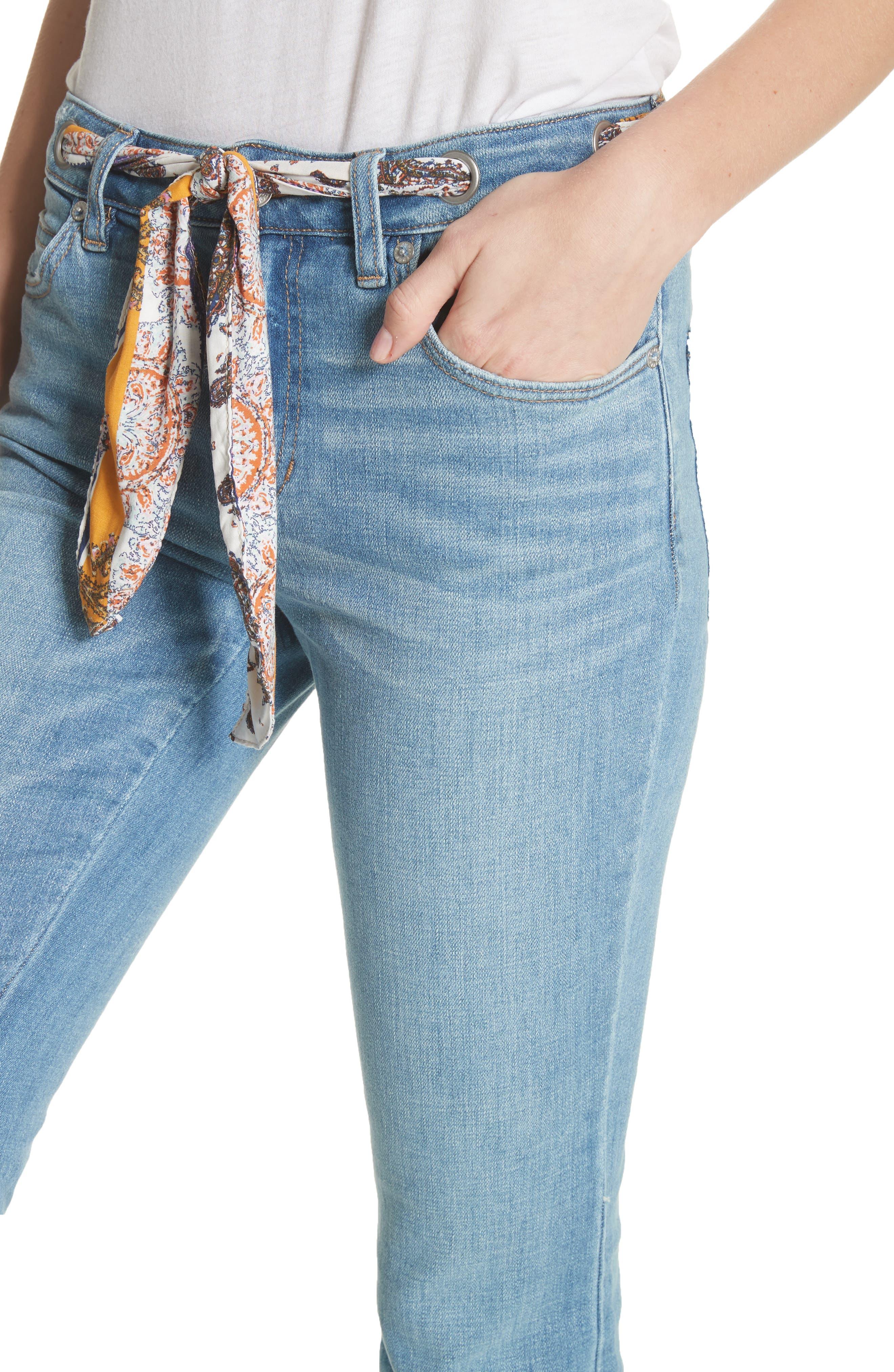 Belt Out High Waist Crop Bootcut Jeans,                             Alternate thumbnail 4, color,