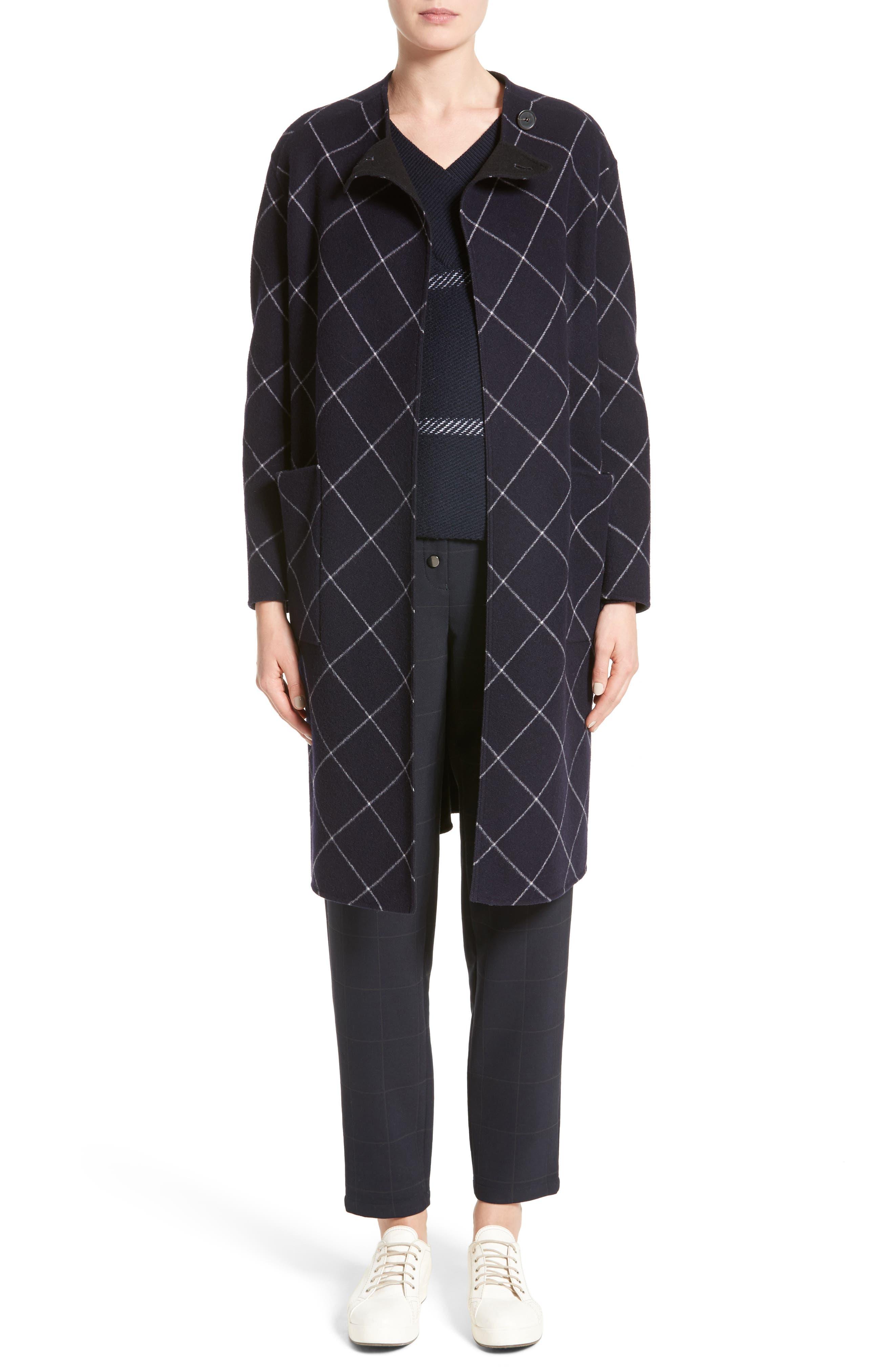 Windowpane Wool & Cashmere Wrap Coat,                             Alternate thumbnail 7, color,                             400