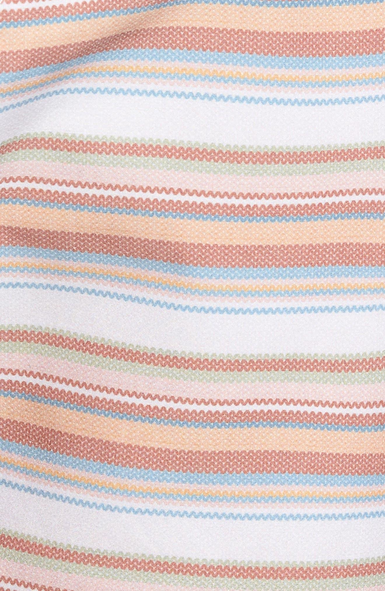 Tuscan Stripe Swim Trunks,                             Alternate thumbnail 5, color,                             TERRACOTTA