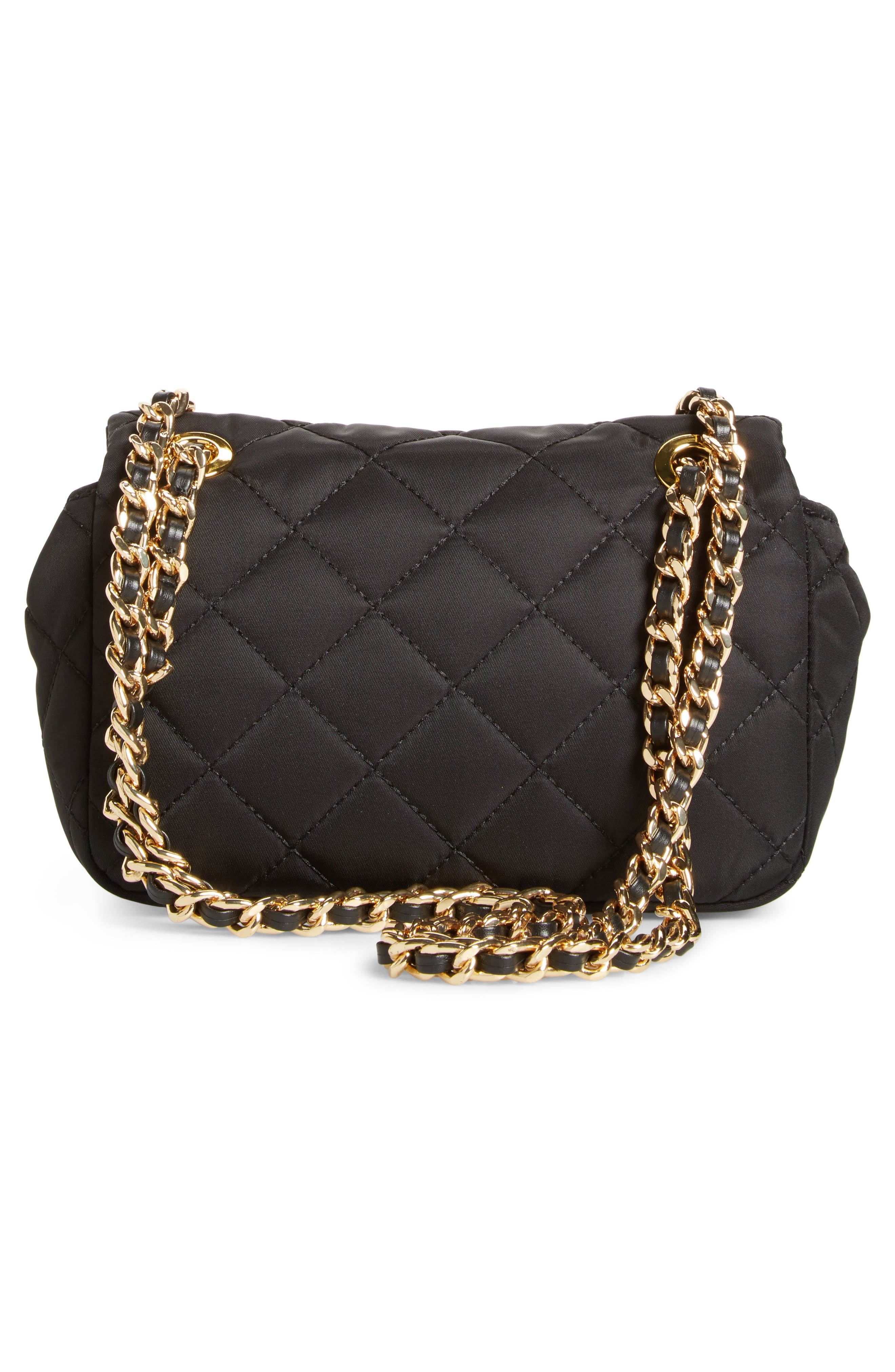 Studded Logo Quilted Nylon Shoulder Bag,                             Alternate thumbnail 3, color,                             115