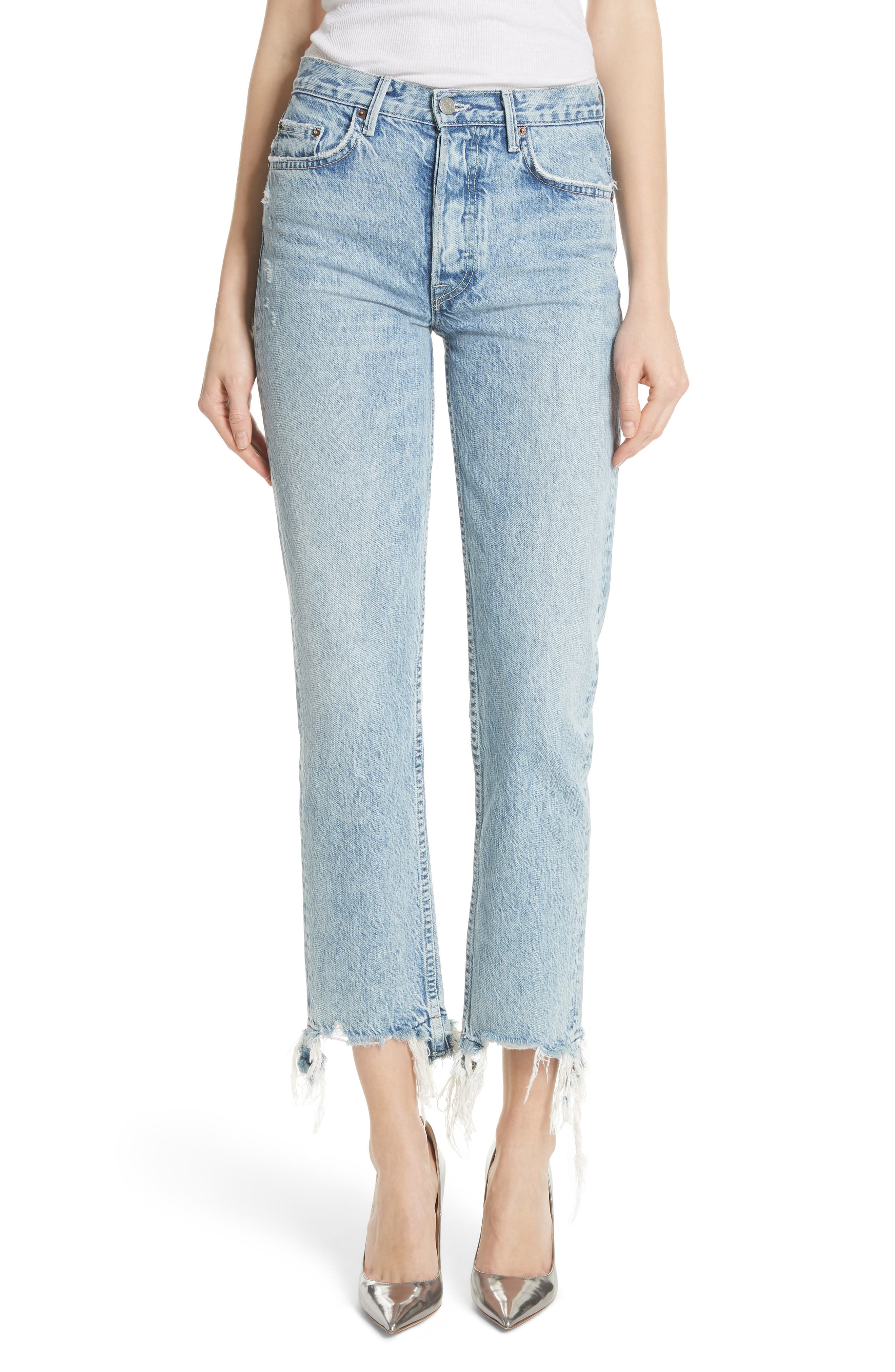 Helena Frayed Hem High Waist Jeans, Main, color, HOLD ON