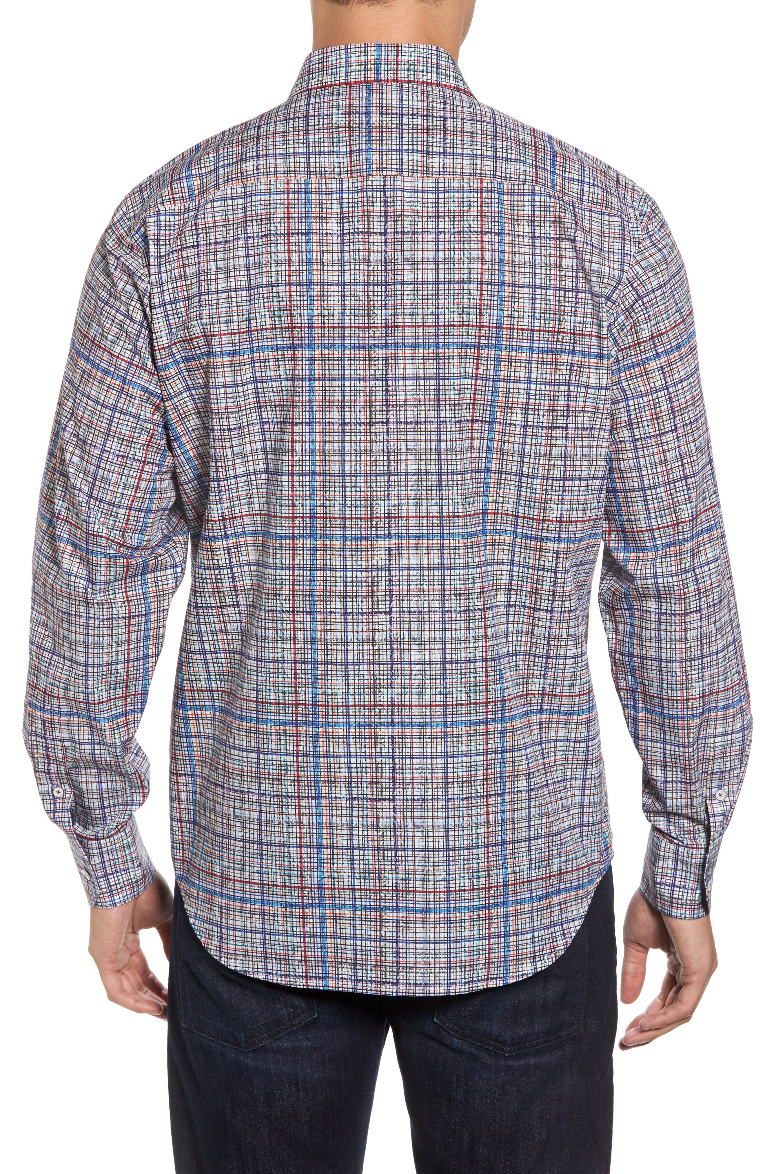 Classic Fit Abstract Plaid Sport Shirt,                             Alternate thumbnail 2, color,