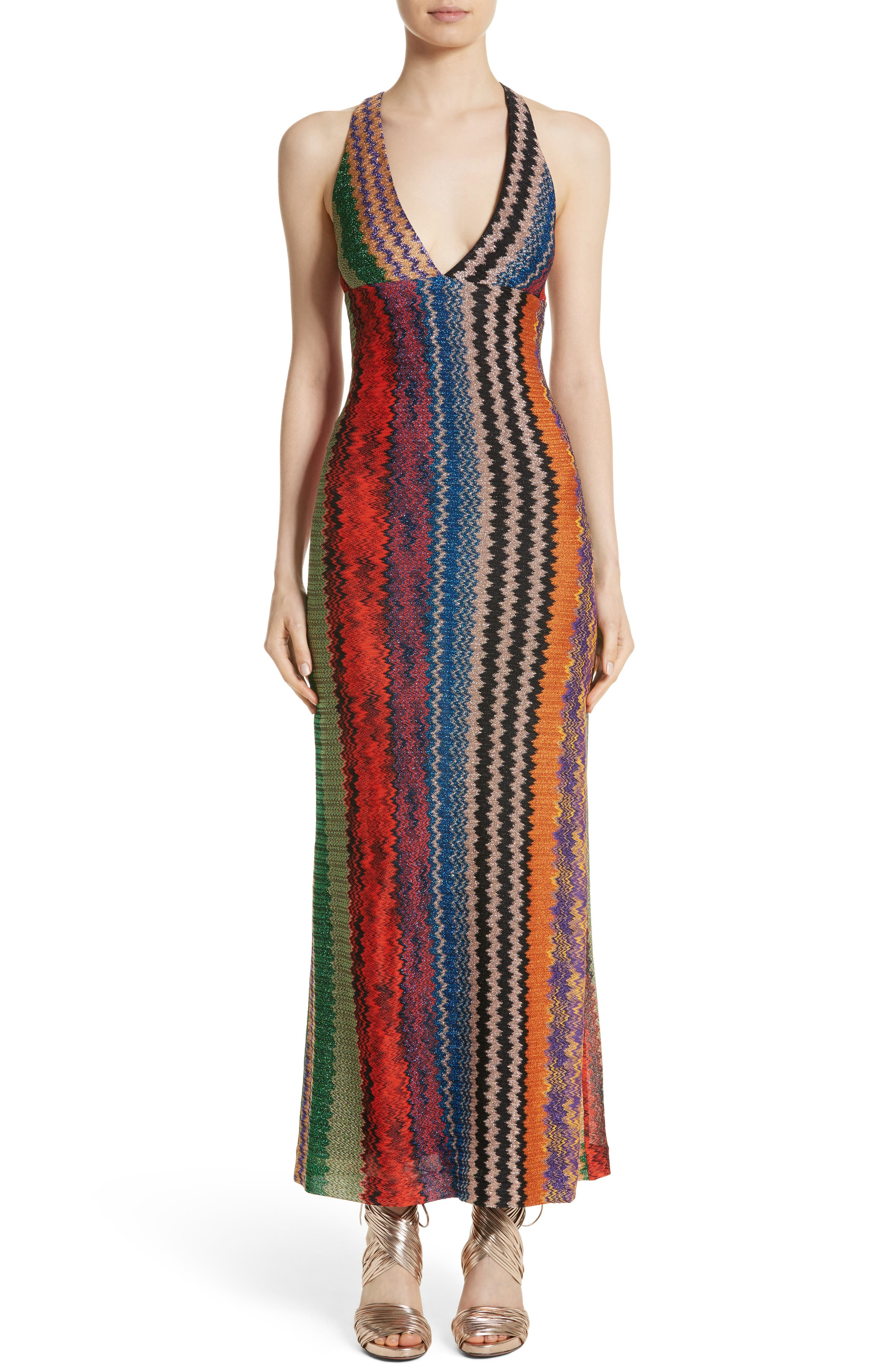 Metallic Zigzag Stripe Knit Gown,                             Main thumbnail 1, color,