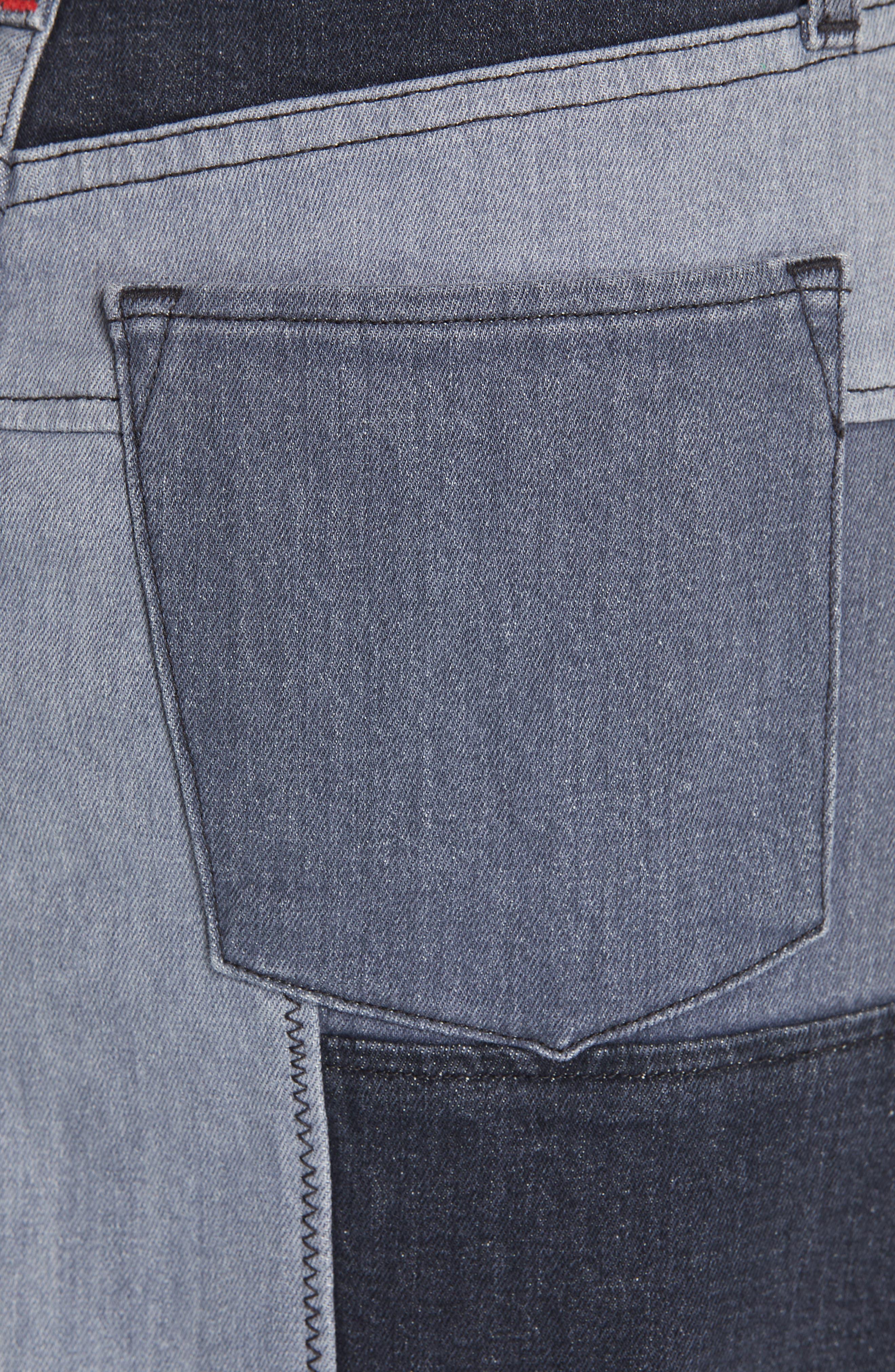 ALICE + OLIVIA JEANS,                             Amazing Patchwork Denim Miniskirt,                             Alternate thumbnail 5, color,                             NIGHT SKY