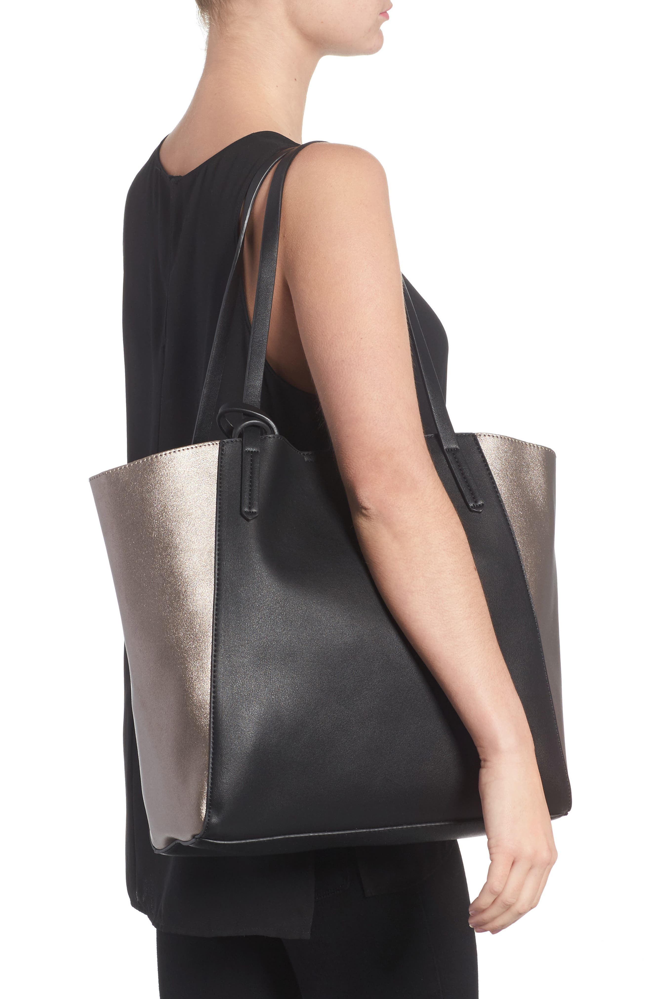 Colorblock Faux Leather Tote,                             Alternate thumbnail 8, color,