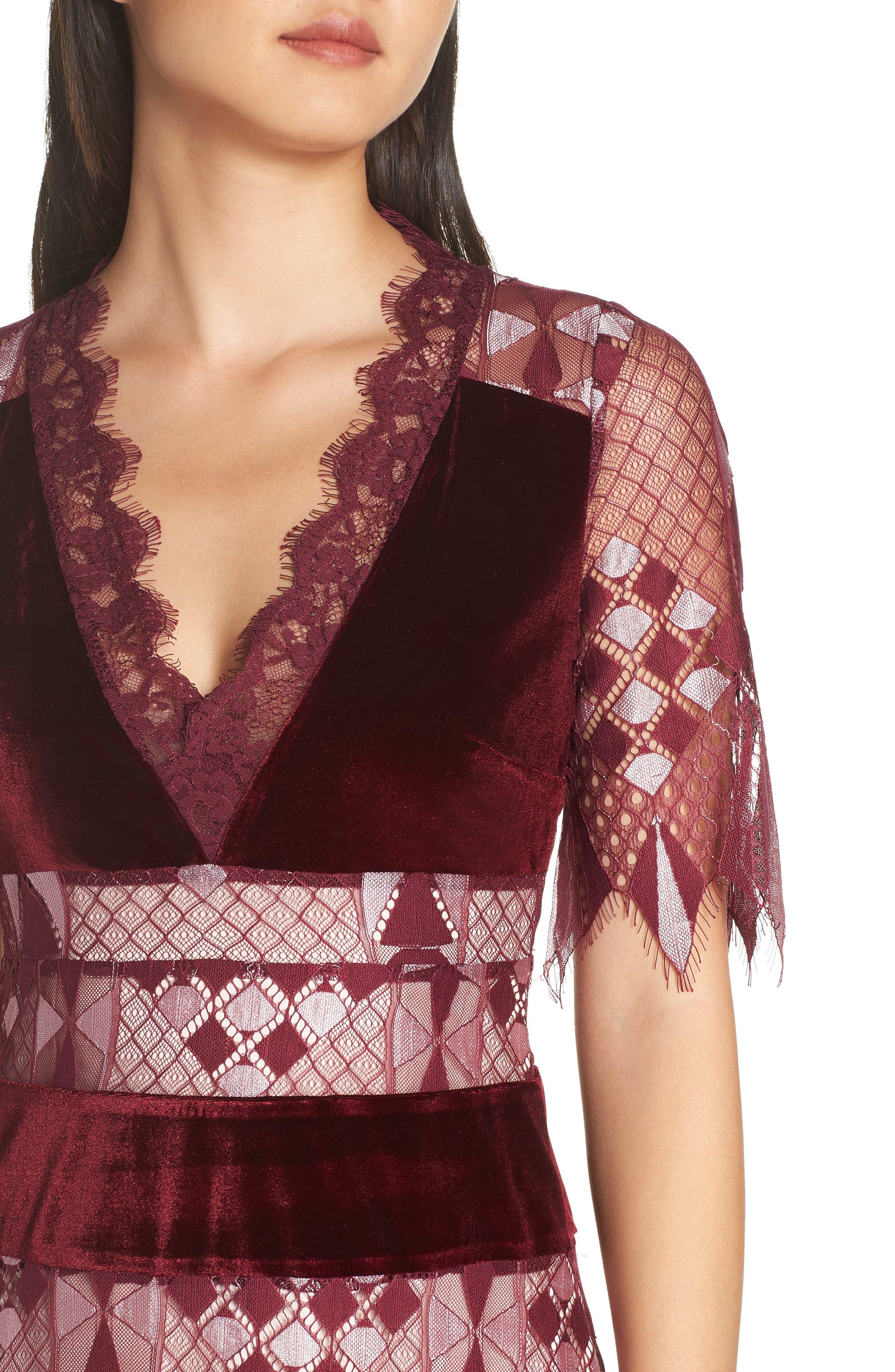 Aria Zulu Lace & Velvet Midi Dress,                             Alternate thumbnail 4, color,                             BURGUNDY