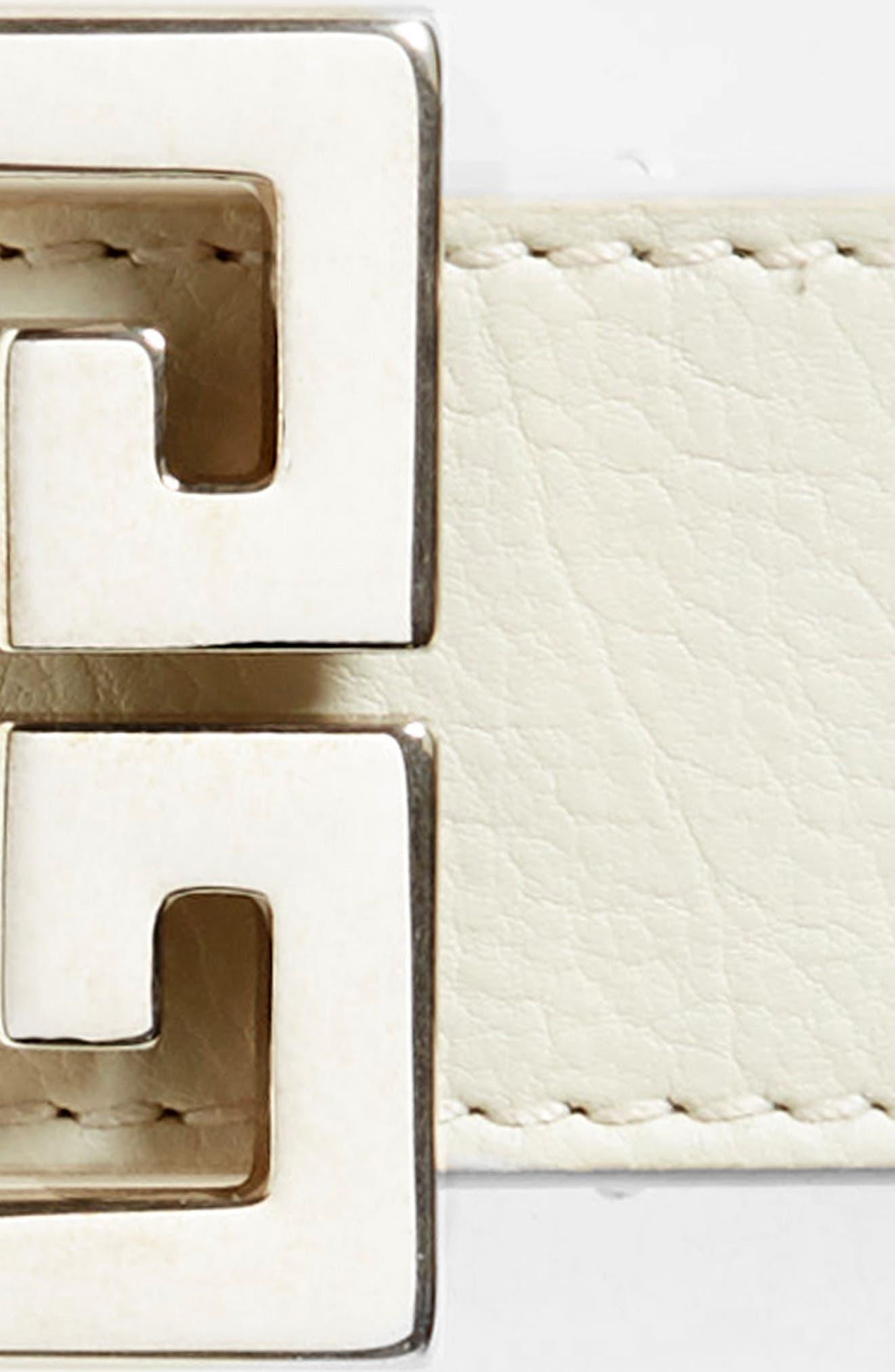2G Leather Belt,                             Alternate thumbnail 3, color,                             WHITE