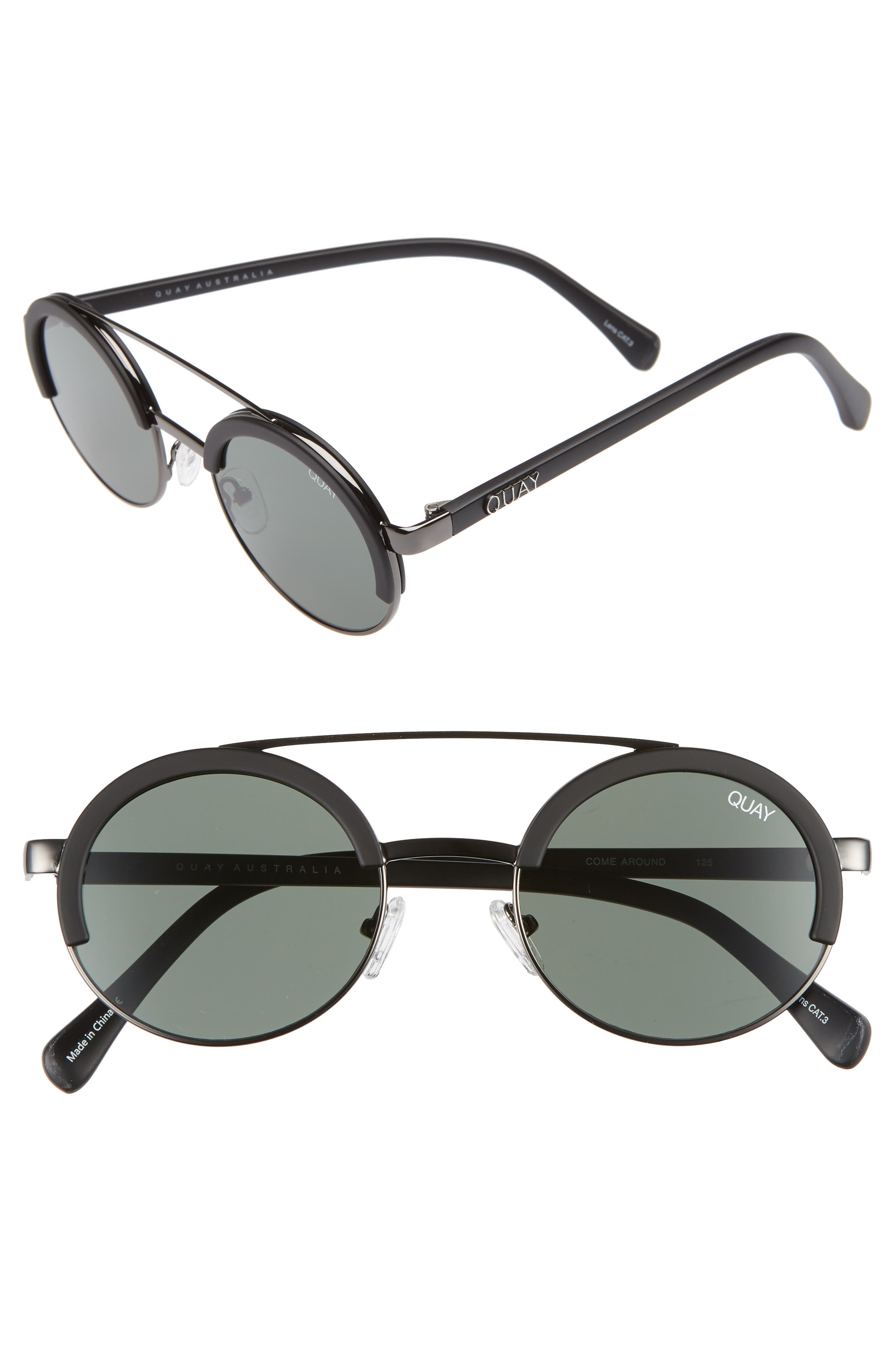 Come Around 52mm Round Sunglasses,                             Main thumbnail 1, color,                             BLACK/ GREEN