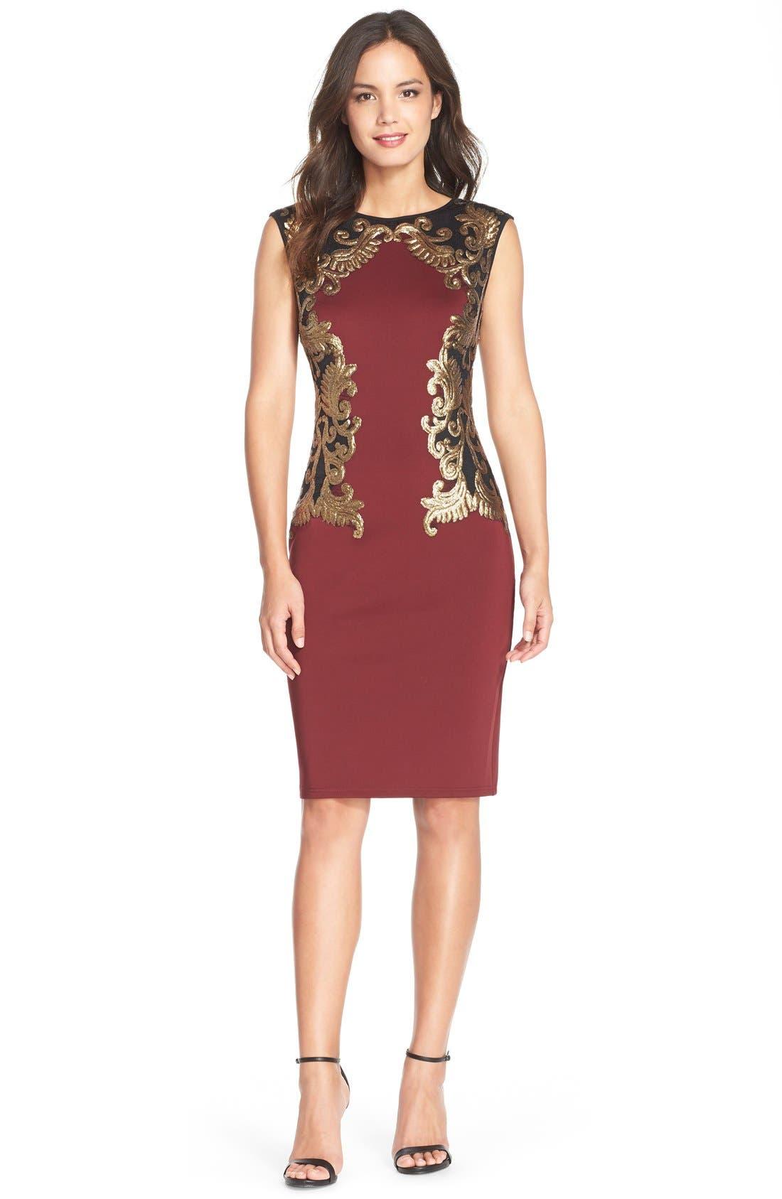Sequin Neoprene Dress,                             Alternate thumbnail 3, color,                             205