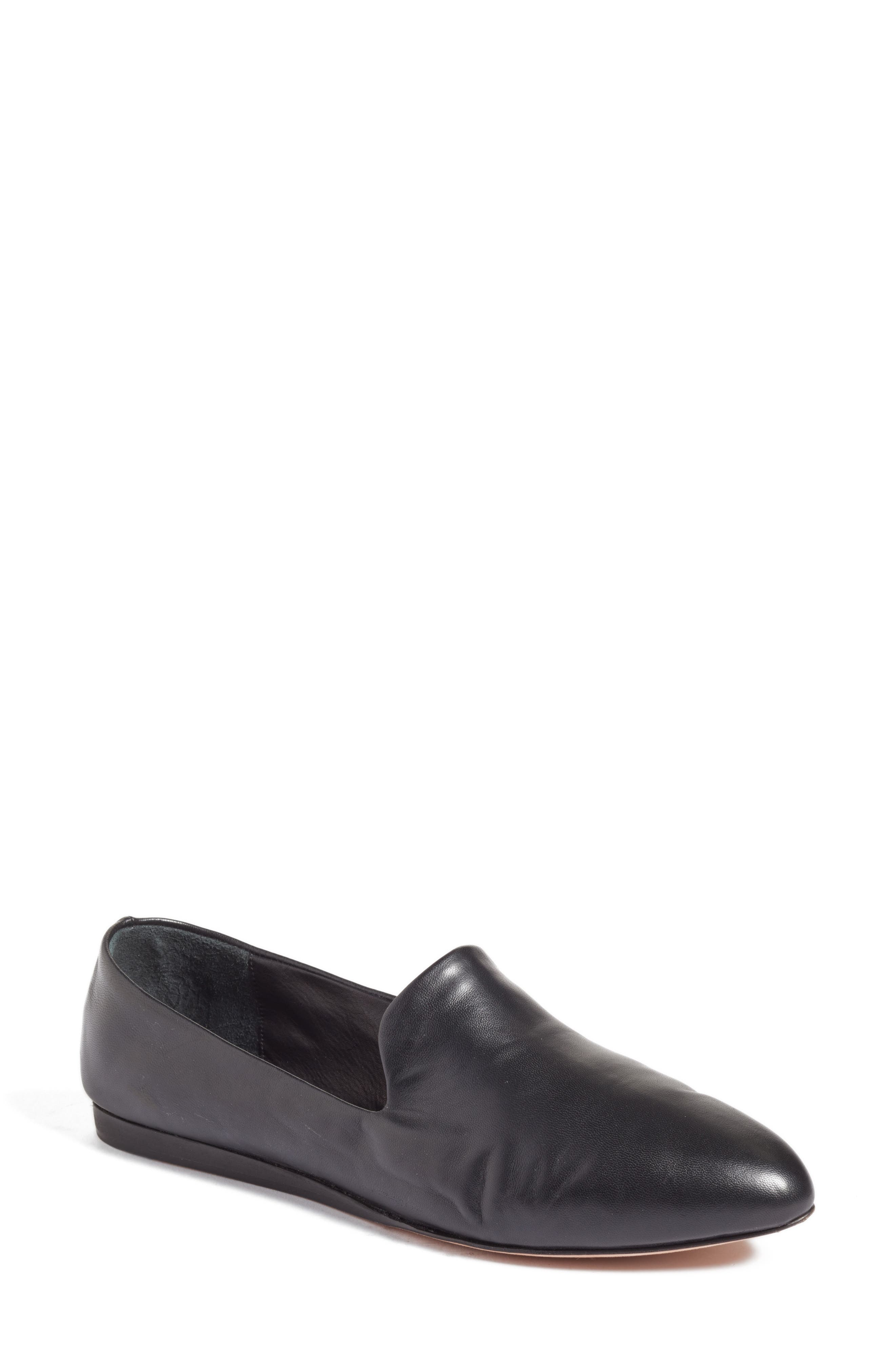 Griffin Pointy Toe Loafer,                         Main,                         color, BLACK