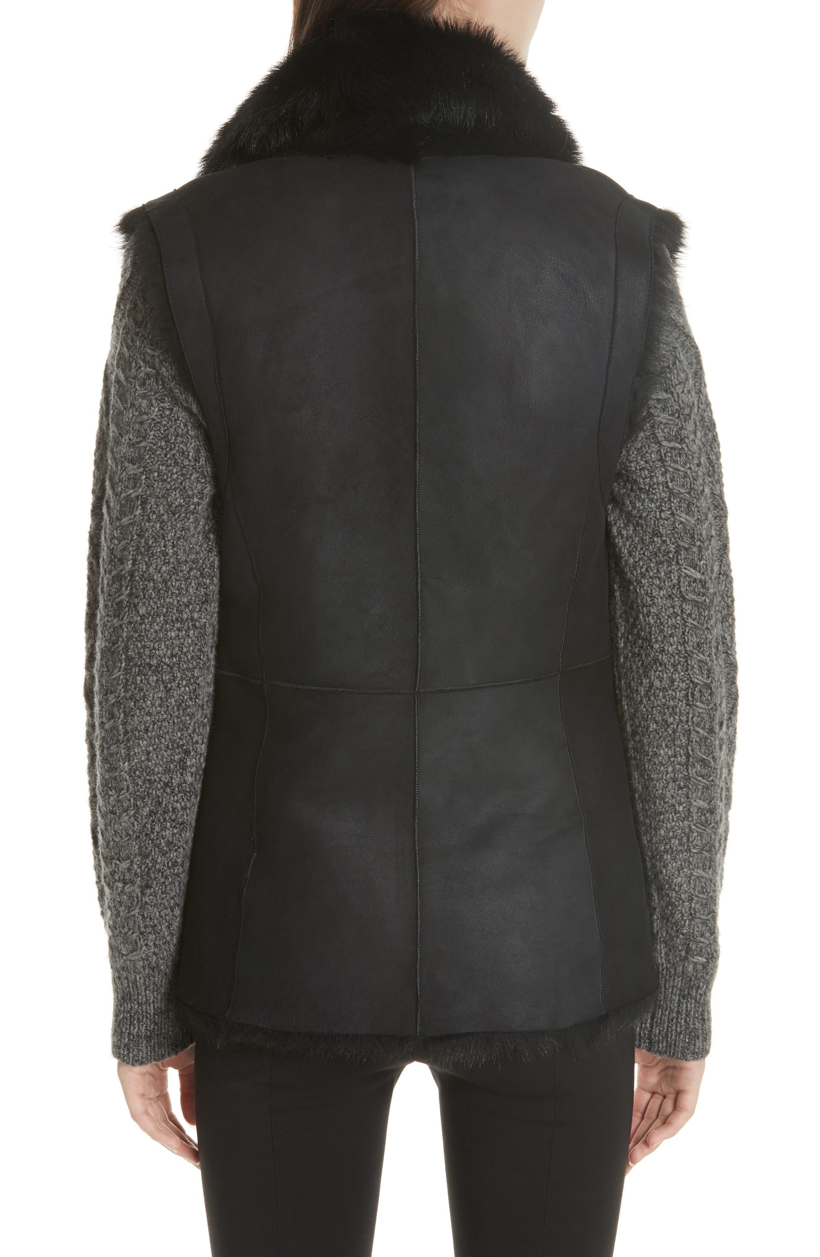 Genuine Toscana Shearling Vest,                             Alternate thumbnail 2, color,                             BLACK