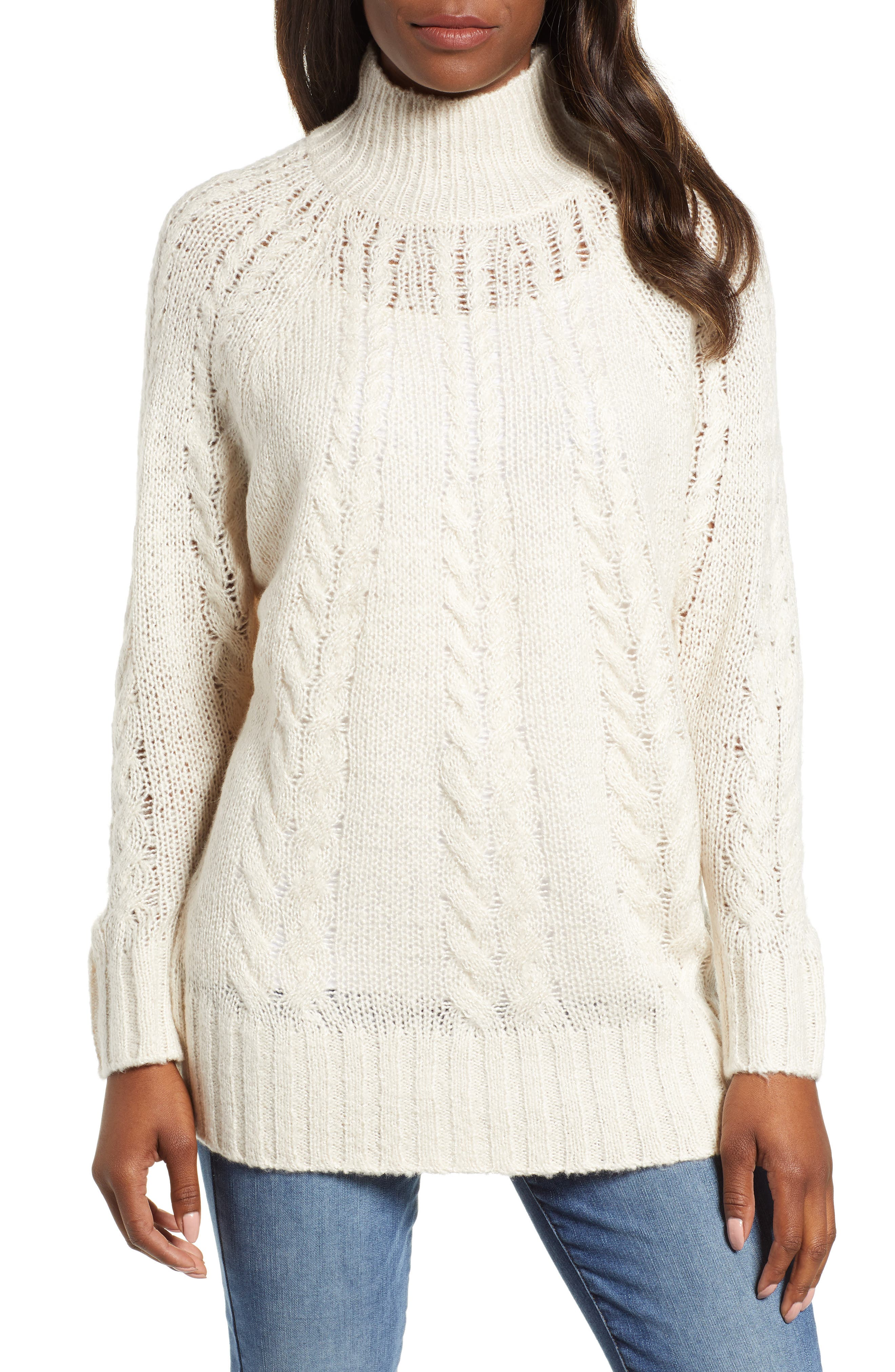 Dolman Sleeve Cable Knit Tunic,                             Main thumbnail 1, color,                             270